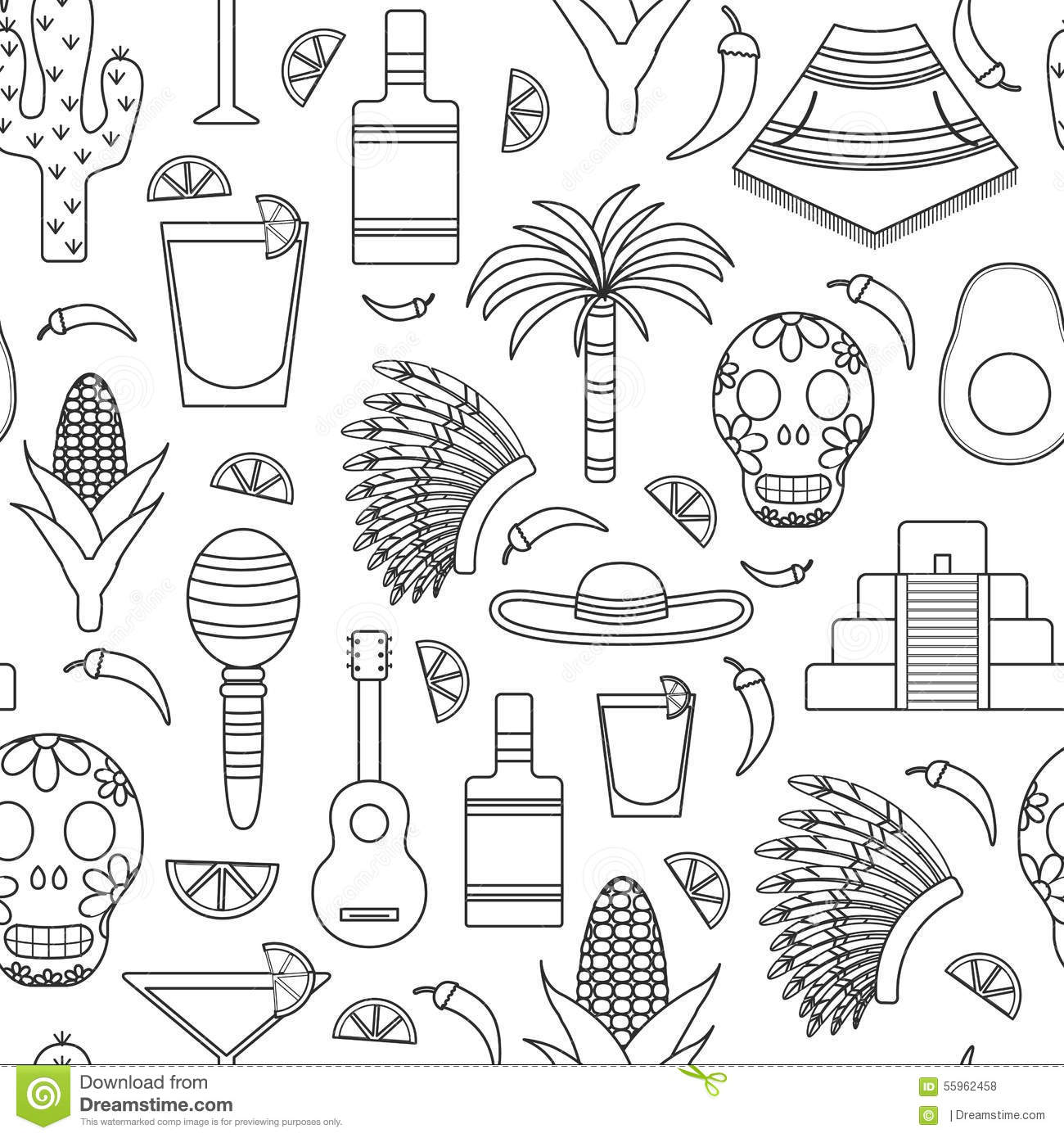 seamless background with outline objects on mexico stock vector
