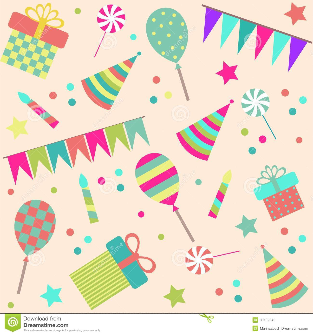 Free Birthday Stuff Website ~ Seamless background with party stuff stock vector image