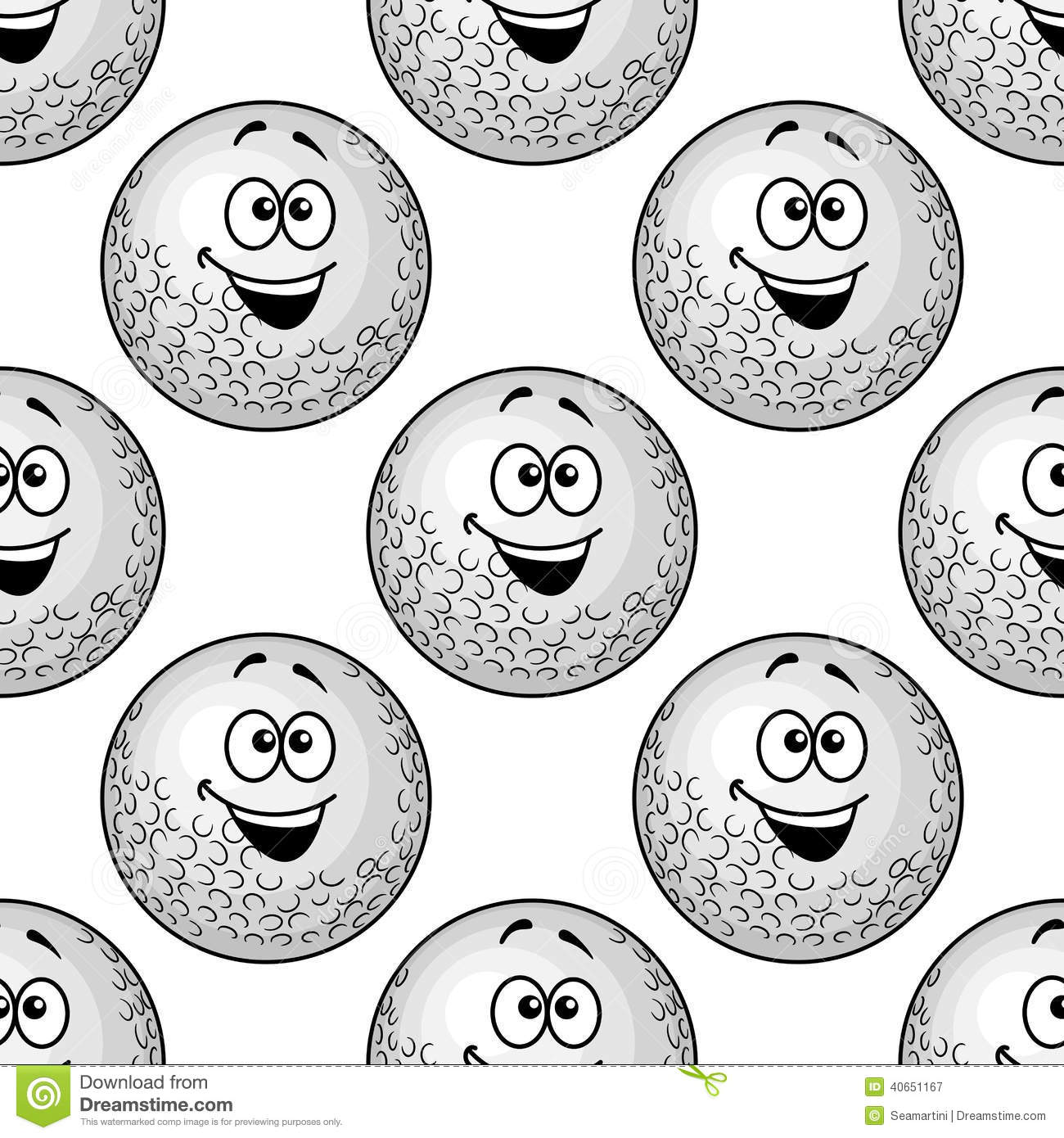 Seamless background pattern of cartoon golf balls with big happy ...