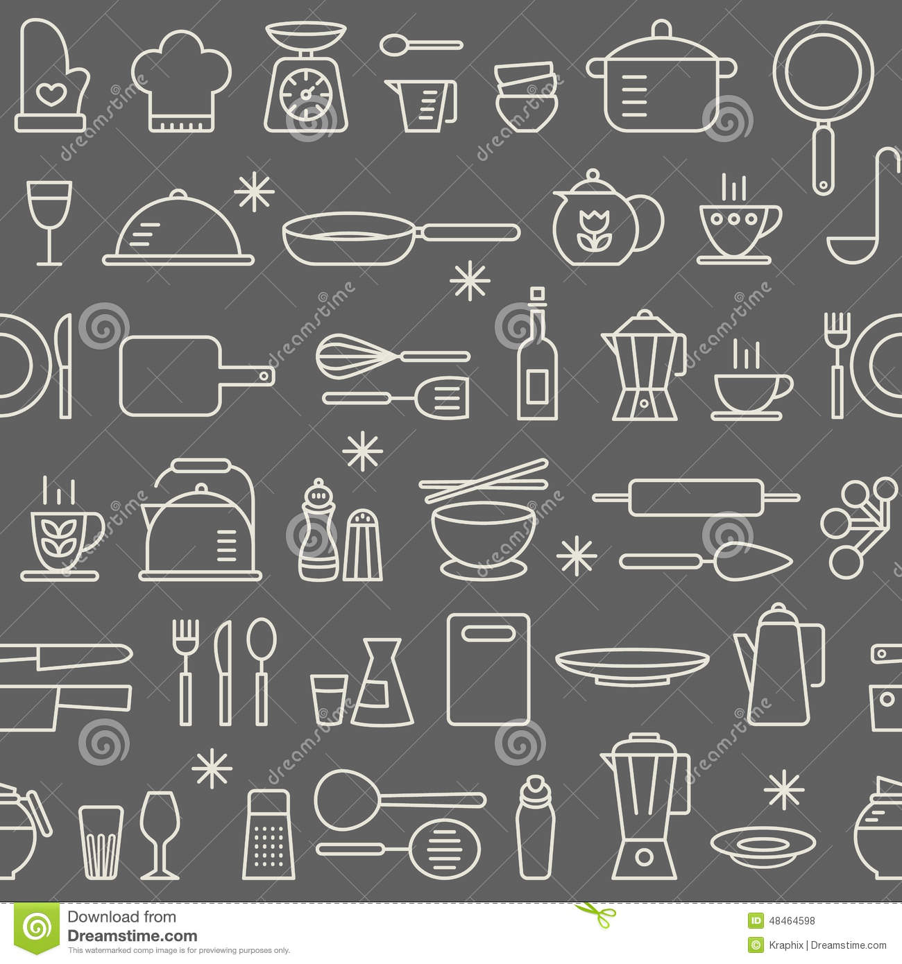 Seamless Background Pattern Cooking Kitchen Utensil Icons