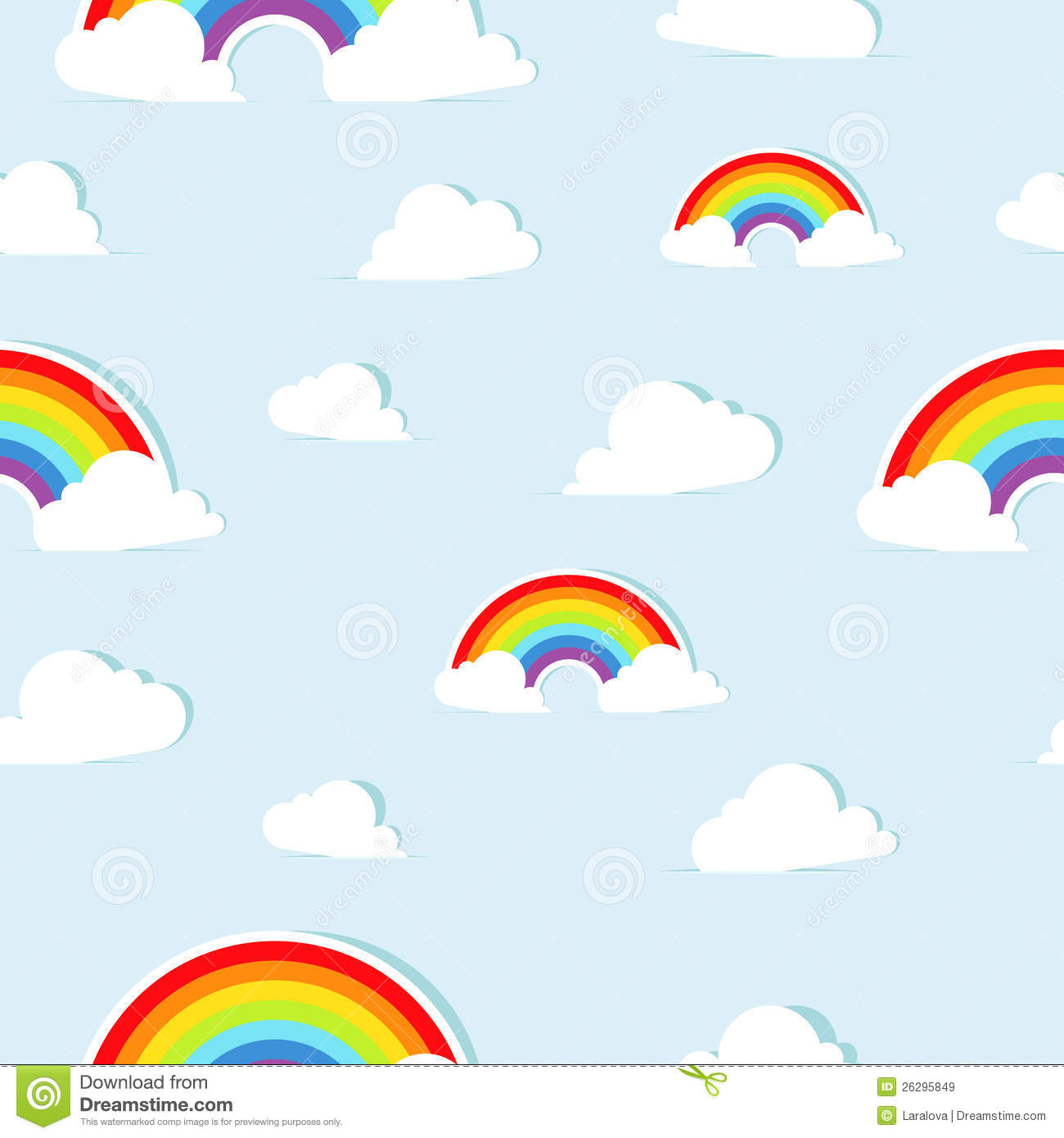 Seamless Background Pattern With Paper Rainbows Royalty Free Stock ...