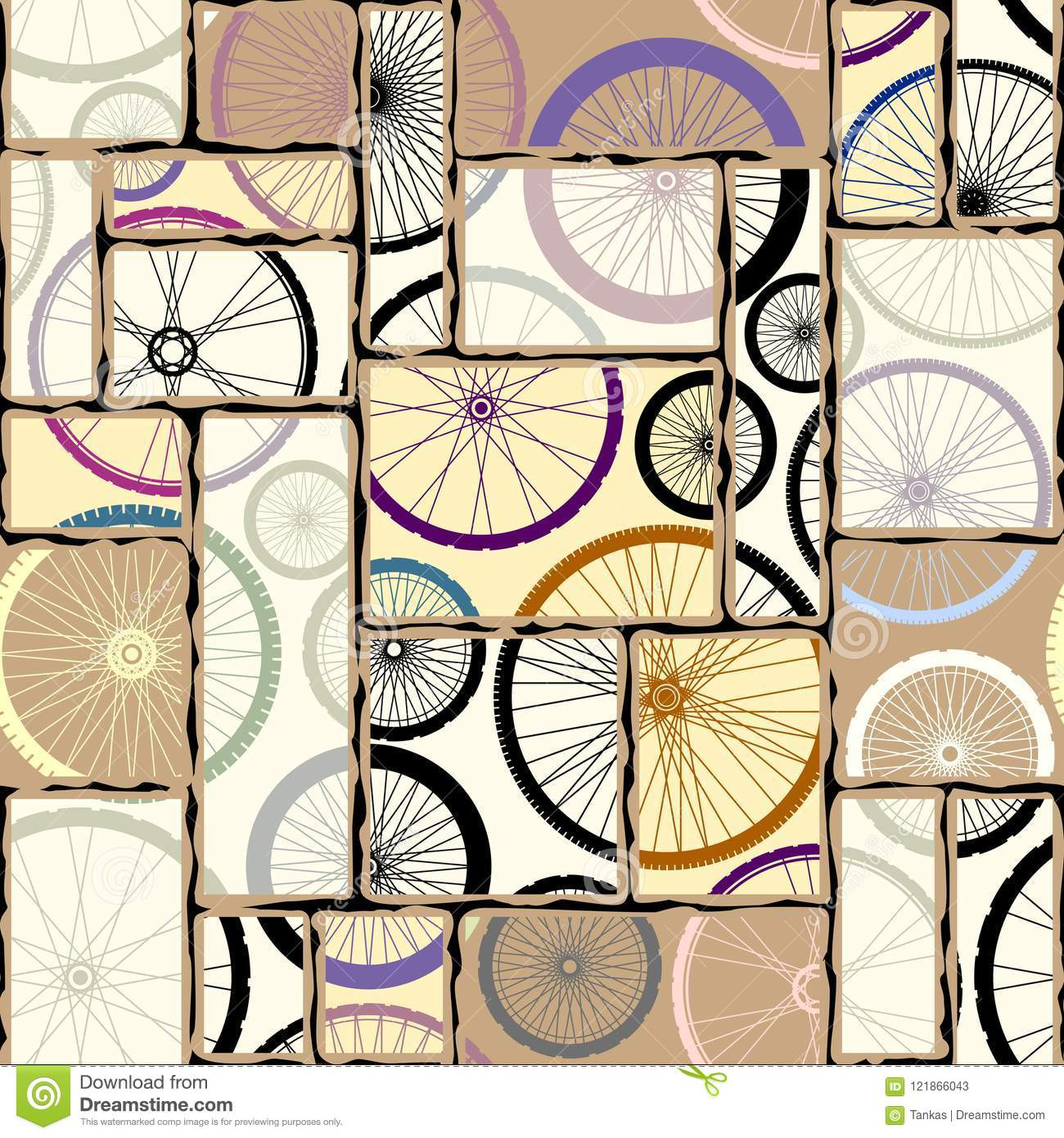 Pattern of bycicles wheels.