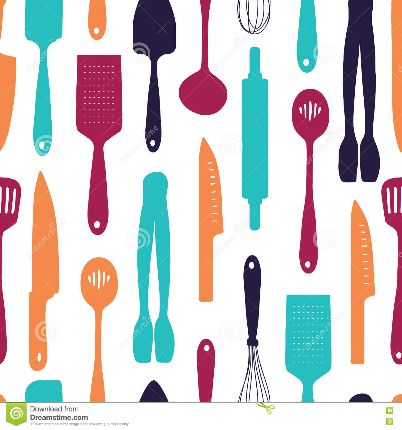 Kitchen Utensils Wallpaper kitchen wallpaper pattern - 1 royalty free stock photography
