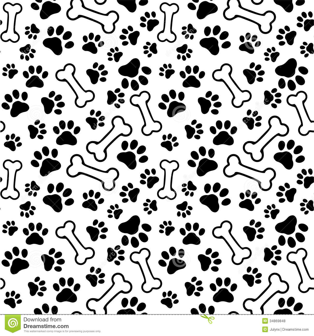 1945c48fca66 Seamless Background - Pet Paw Print And Bone Stock Vector ...