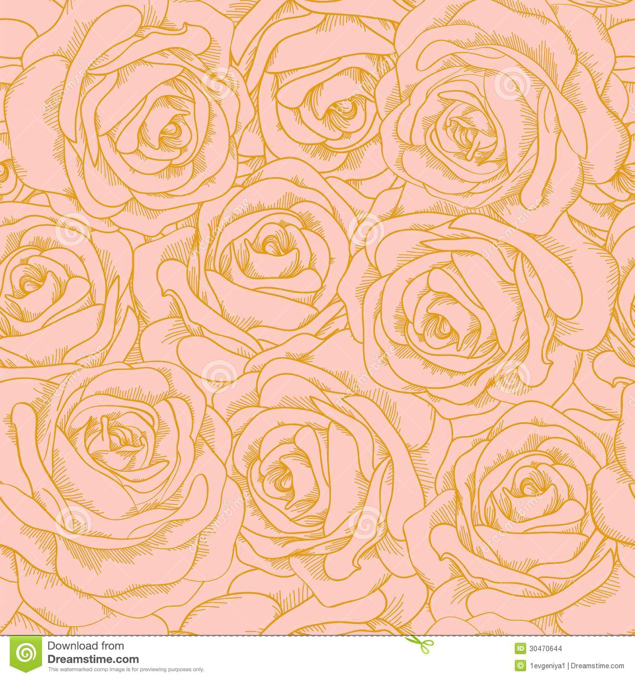 Seamless Background Of Pink Roses With A Gold Outl Stock