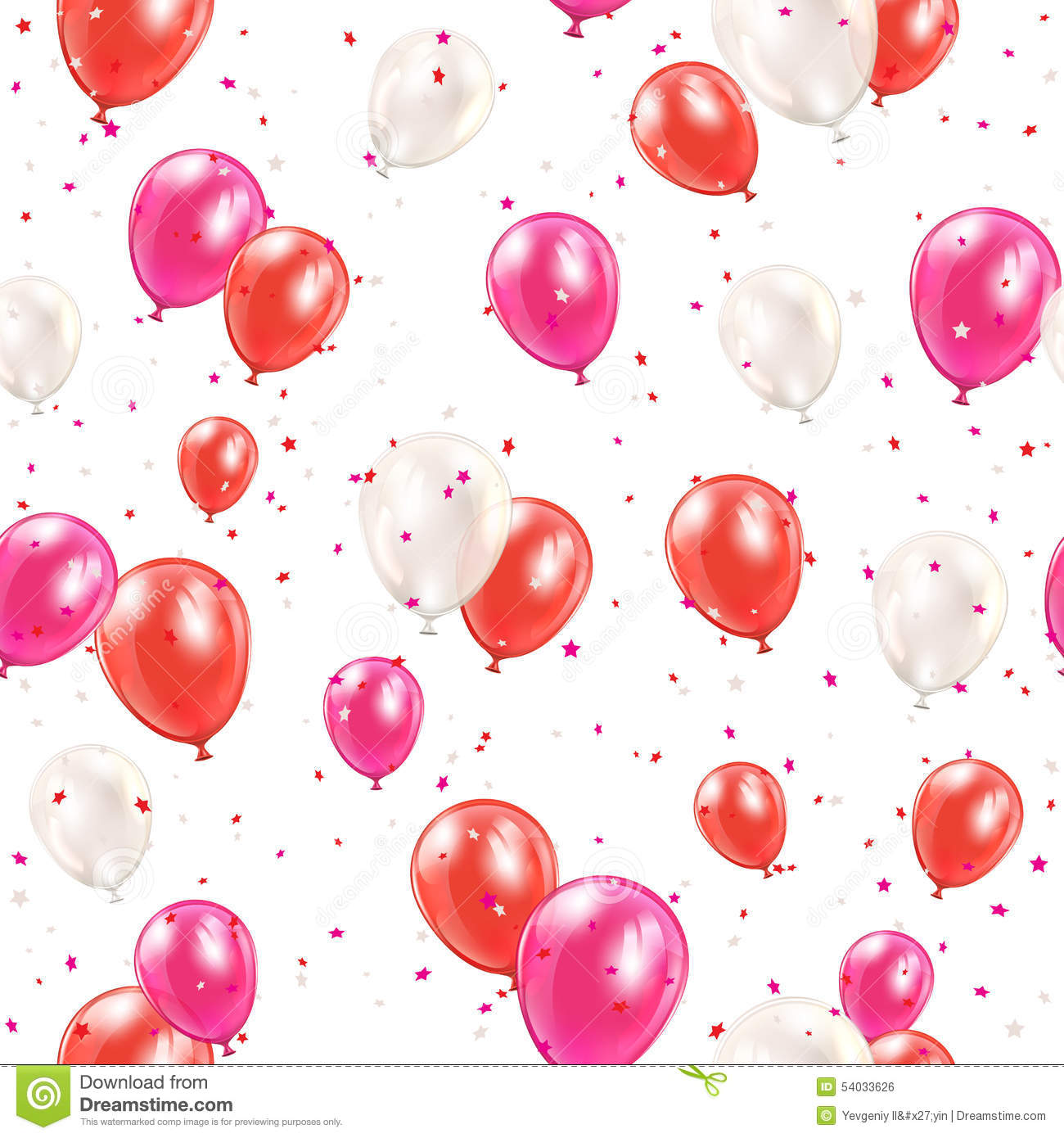 Seamless background with red balloons
