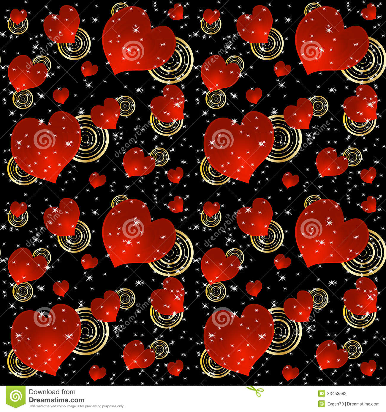 Seamless Background With Red Hearts And Stars Stock Vector ...