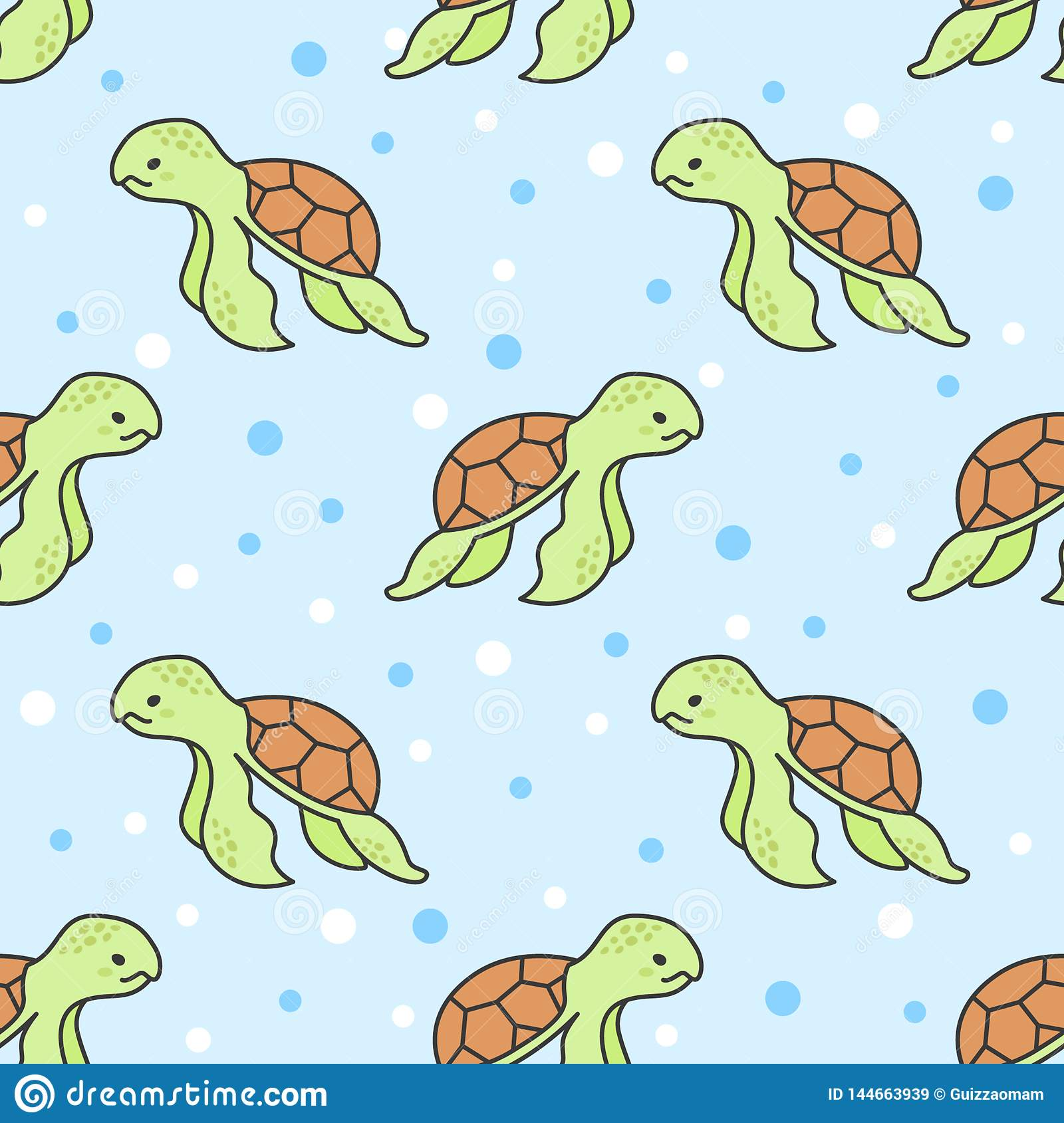 Cute Turtle Seamless Pattern Background Stock Illustration Illustration Of Design Graphic 144663939