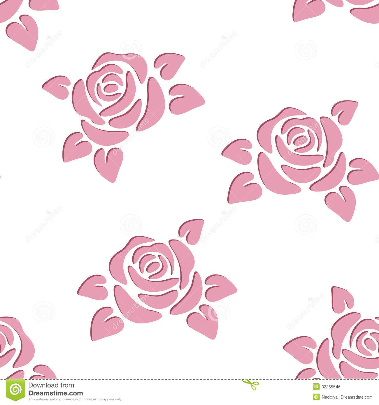 Seamless Background With Roses. Vector Illustratio Stock