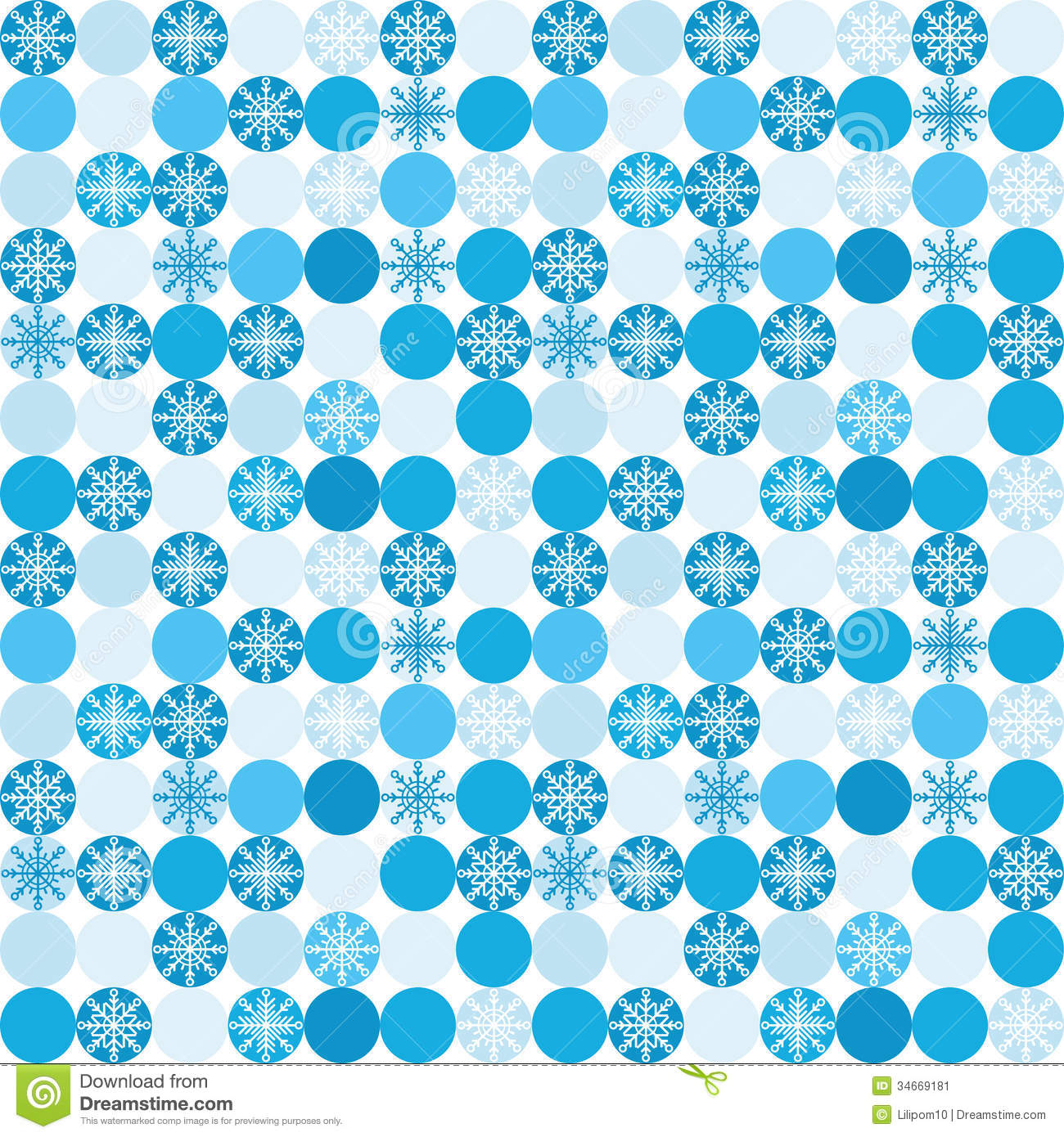 Seamless Background With Snowflakes In Circles Stock