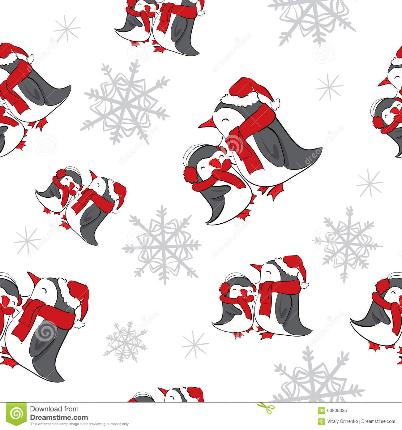 seamless background with snowflakes and penguins new year christmas holiday