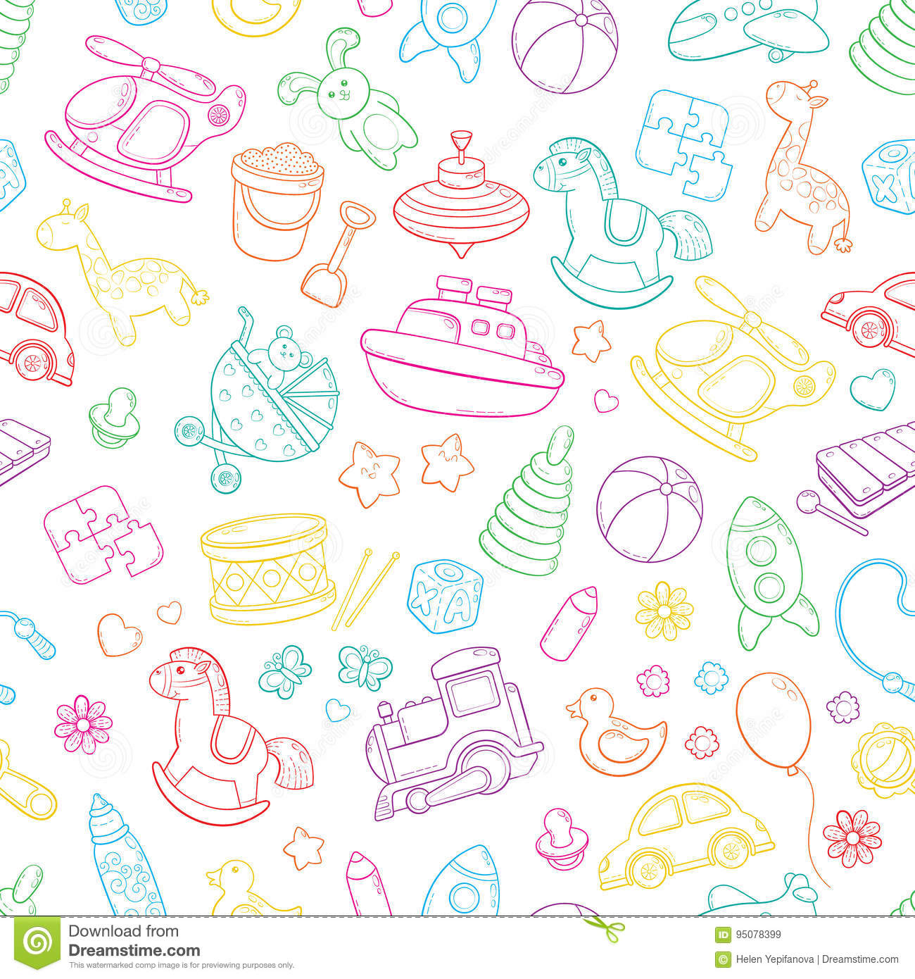 Seamless Background Texture Backdrop Pattern Wallpaper With Children Cartoon Doodle Toys Educational Games For Kids Stock Vector Illustration Of Doodle Baby 95078399