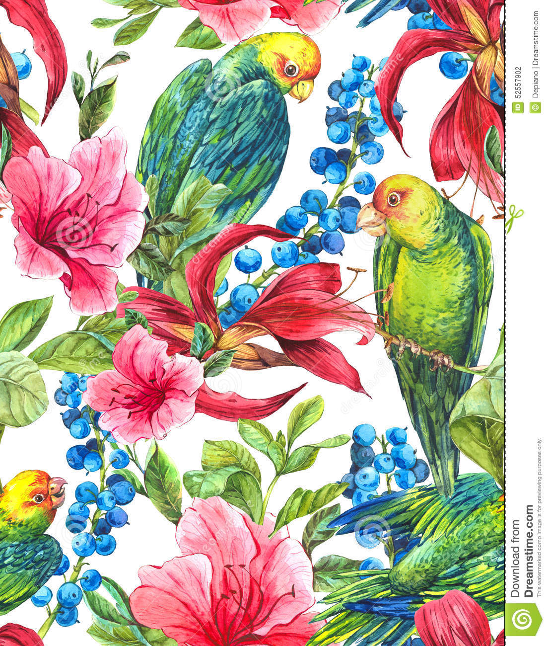 Vintage Style Tropical Bird And Flowers Background: Seamless Background With Tropical Flowers, Parrots Stock