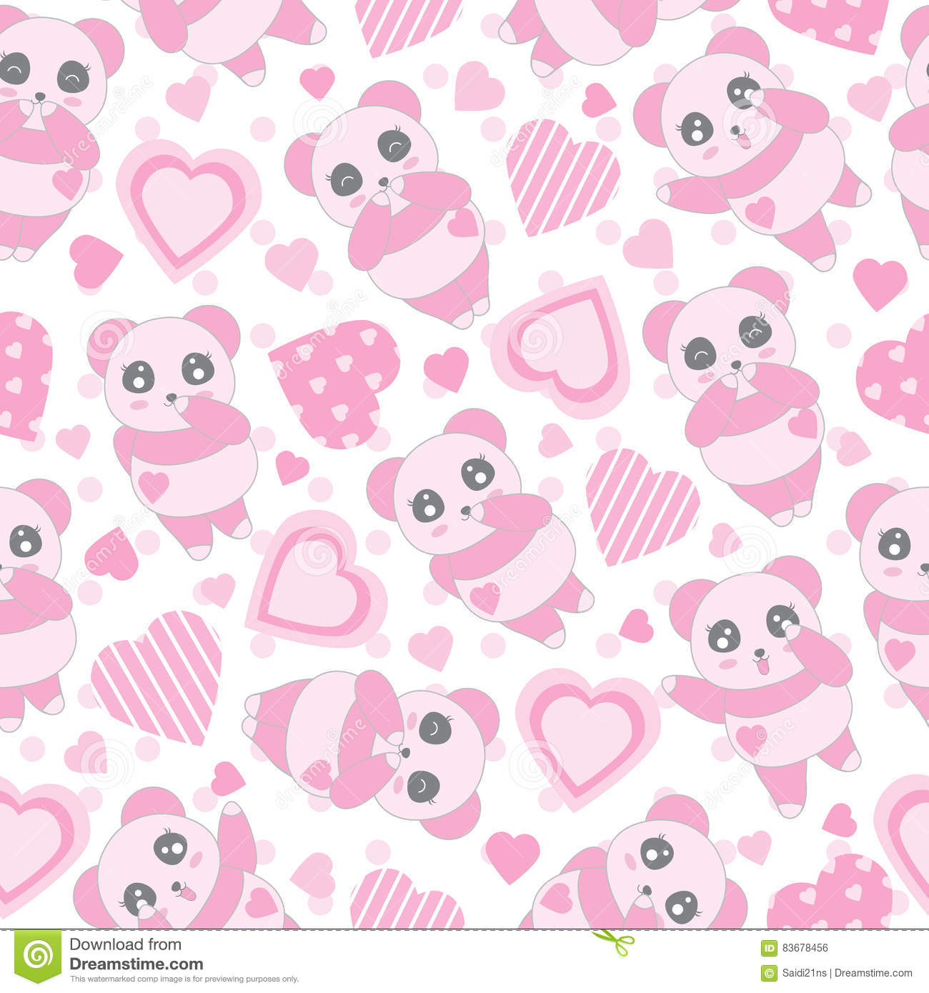 Seamless Background Of Valentines Day Illustration With Cute Baby