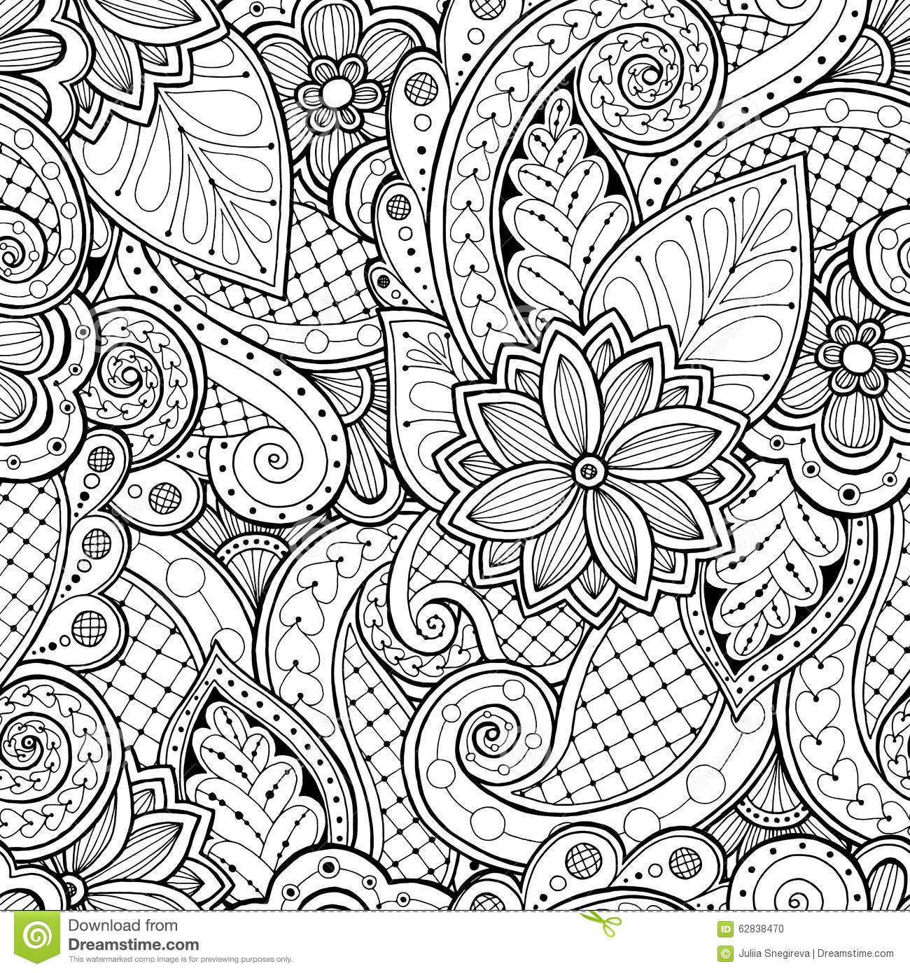 Seamless Background In Vector With Doodles Flowers And Paisley Stock