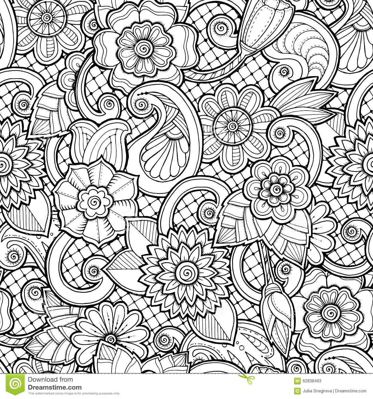 Seamless background in vector with doodles flowers and Coloring book background