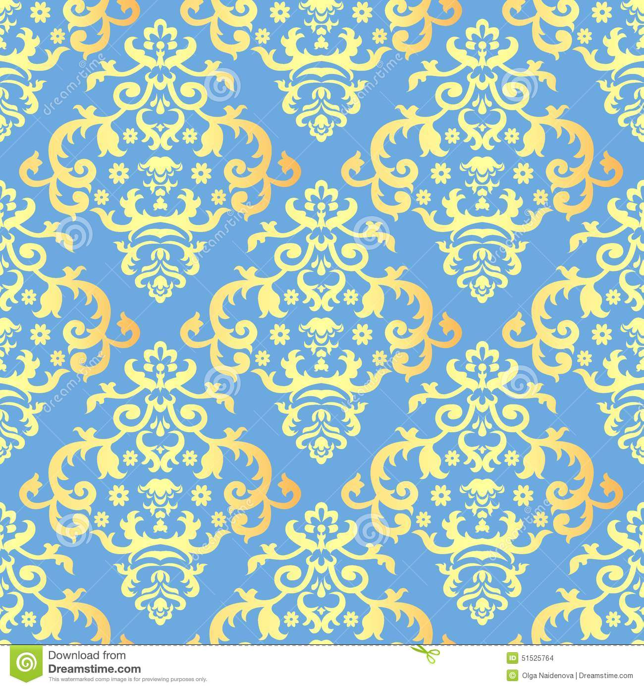 Seamless Background With Vintage Gold Ornament On Blue ...