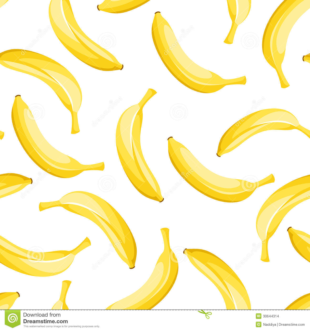 Vector Seamless Background With Yellow Bananas. Stock ...
