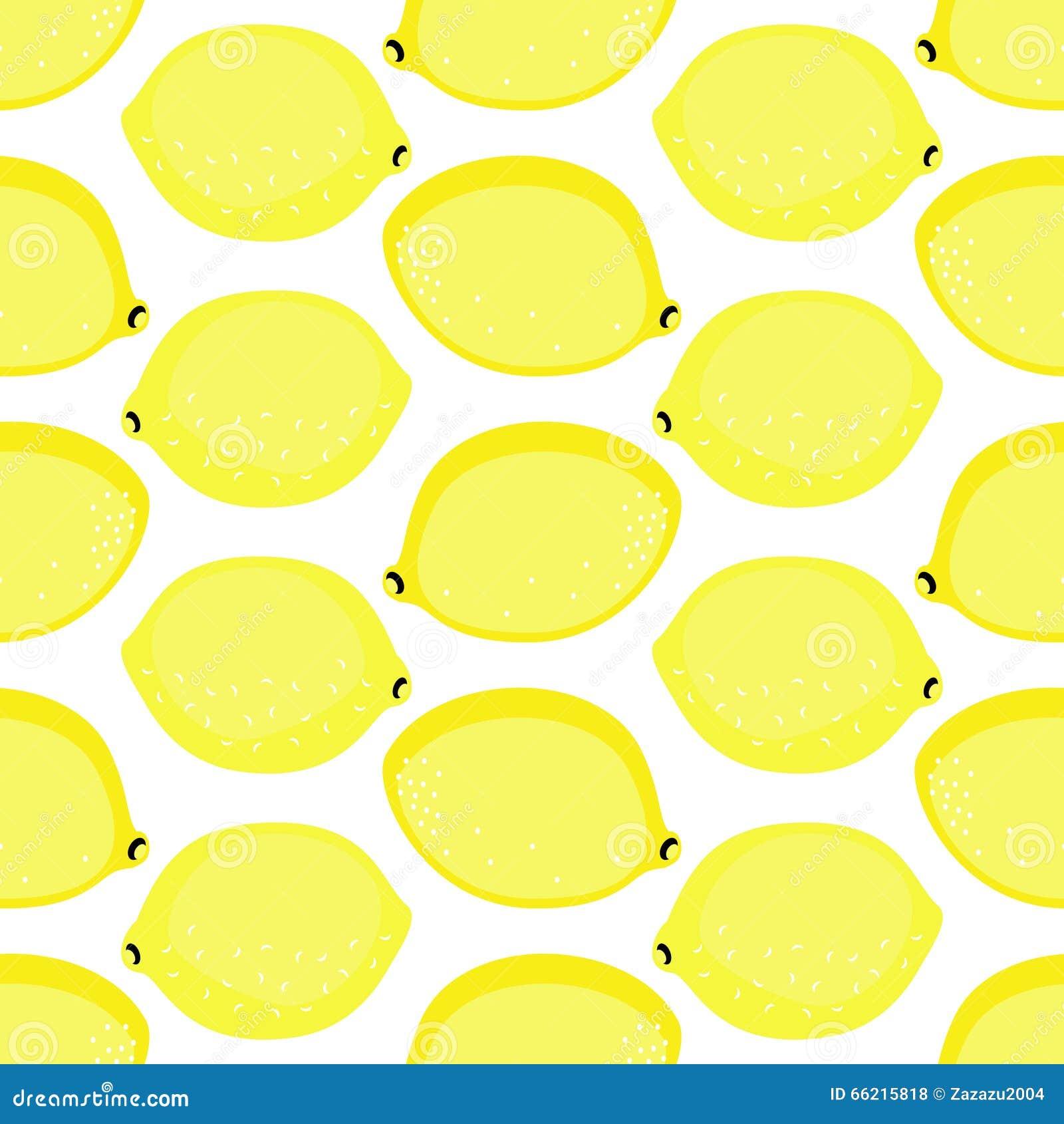 Seamless Background With Yellow Lemons Cute Vector Lemon Pattern