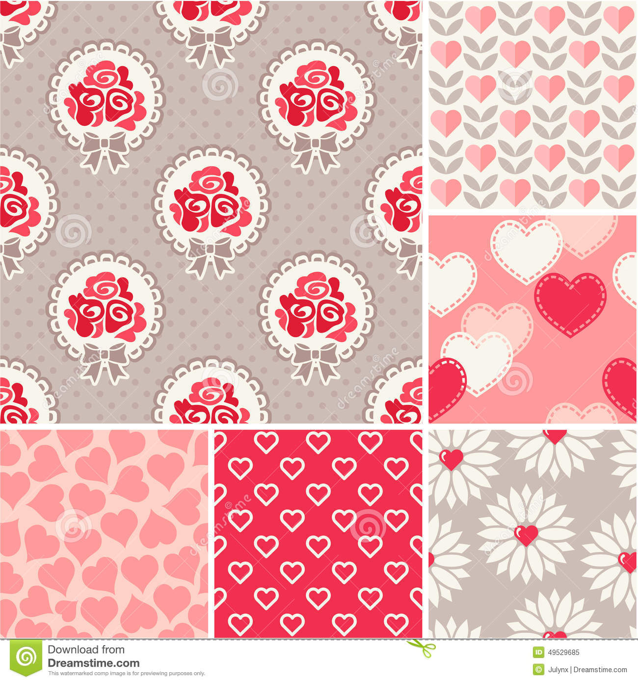 Seamless Backgrounds Set Scrapbook Paper Valentines Day