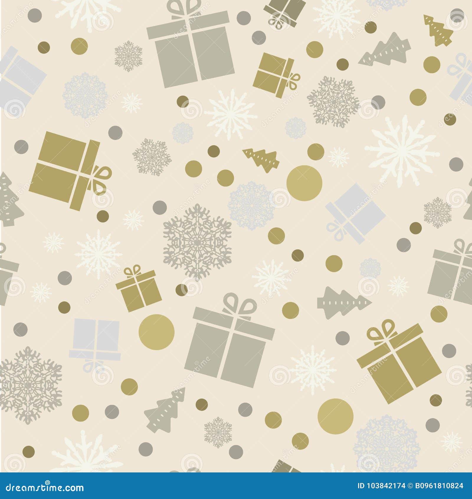 Seamless bakgrund Snöflingor gåvor, snöfall white för shopping för försäljning för bakgrundsjulflicka lycklig