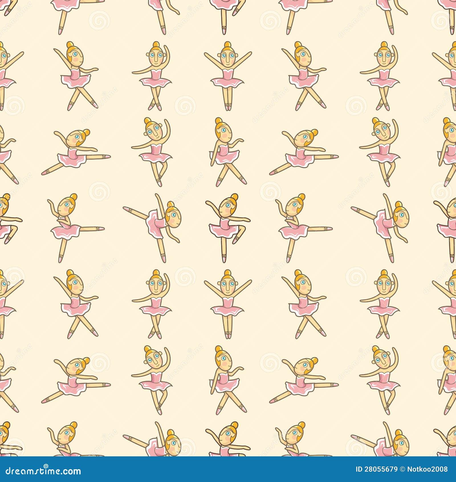 Seamless pattern of ballet dancers royalty free stock photography - Royalty Free Stock Photo Ballet Cartoon Illustration Pattern Seamless