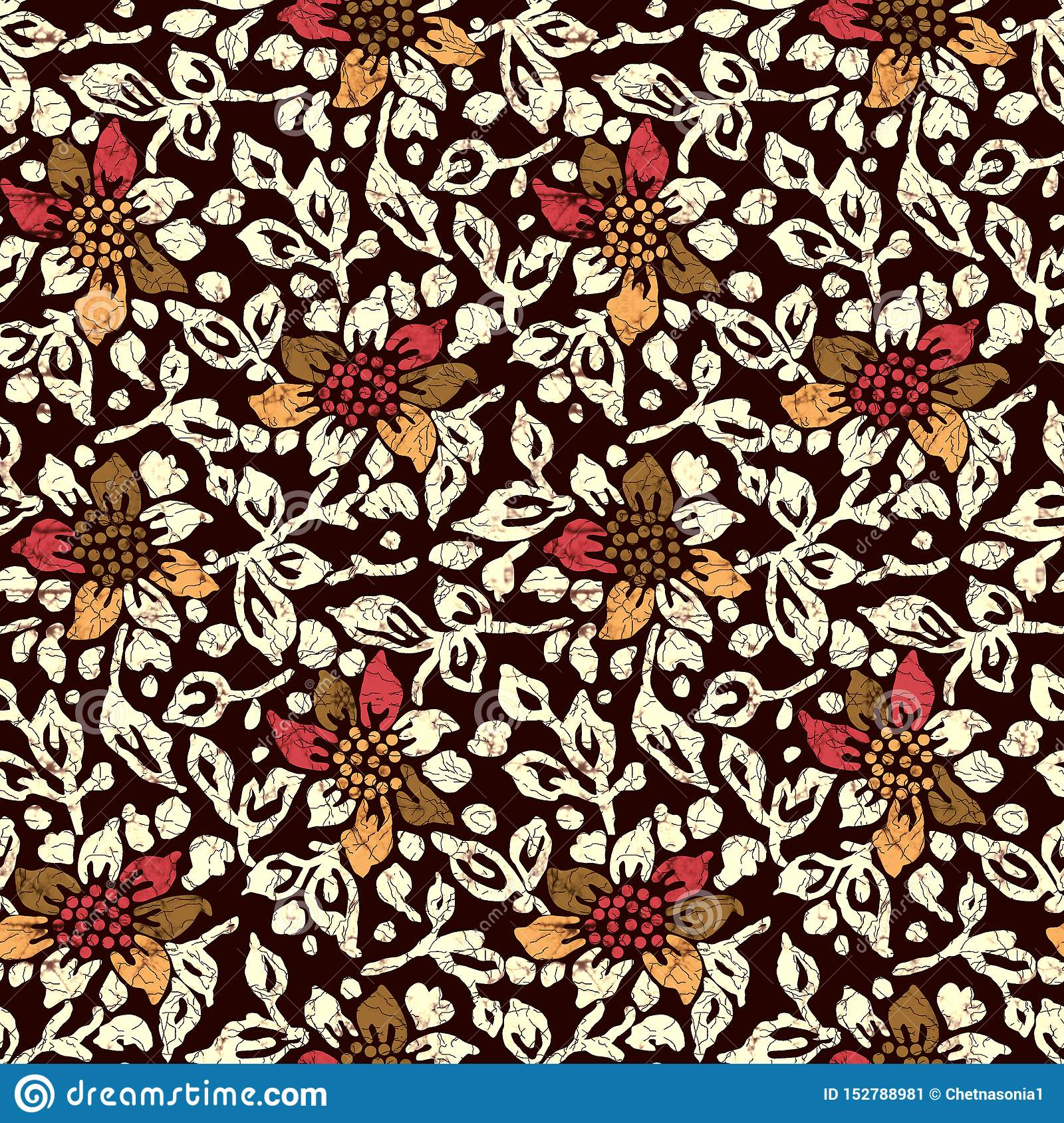 Seamless Batik Flower Design Pattern Stock Illustration