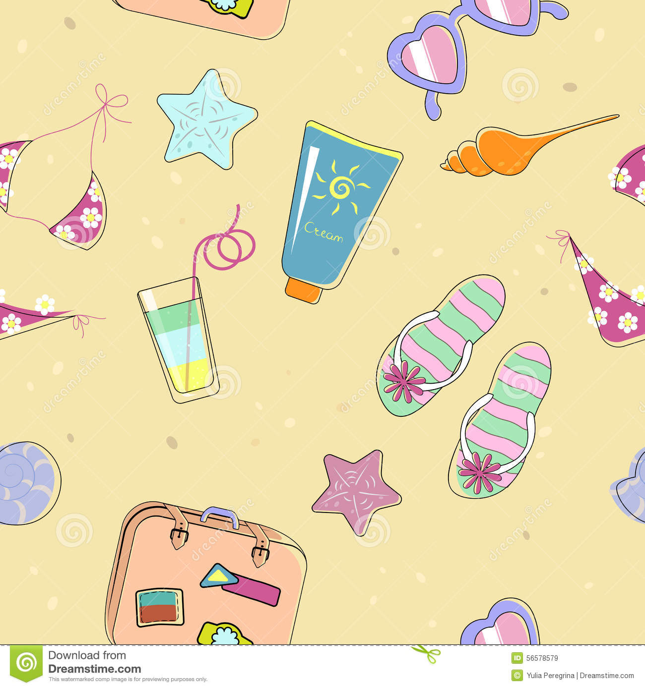 Seamless Beach Pattern For Summer Stock Vector Image