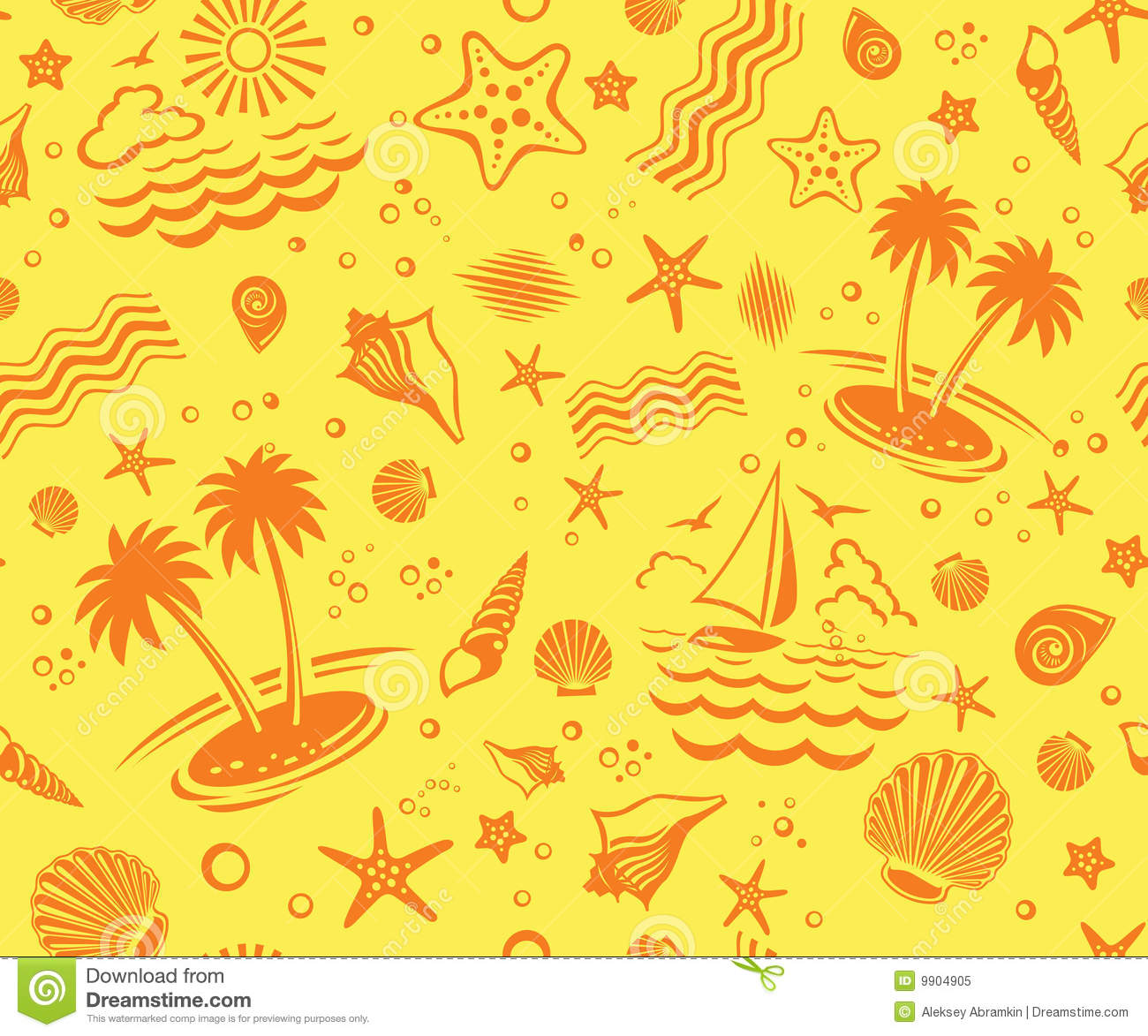 Seamless Beach Vector Pattern Stock Vector - Image: 9904905 Tropical Print Background