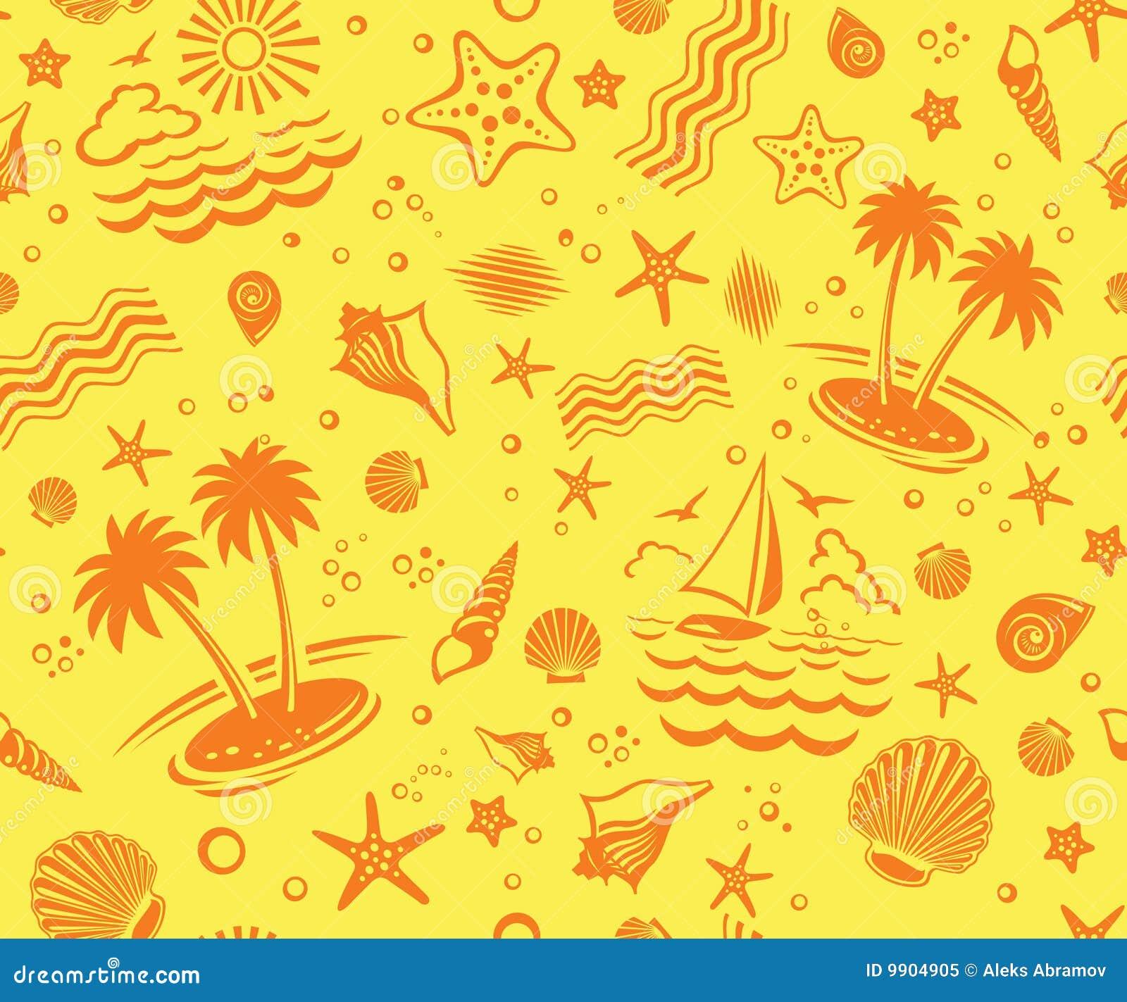 Seamless Beach Vector Pattern Stock Vector Illustration