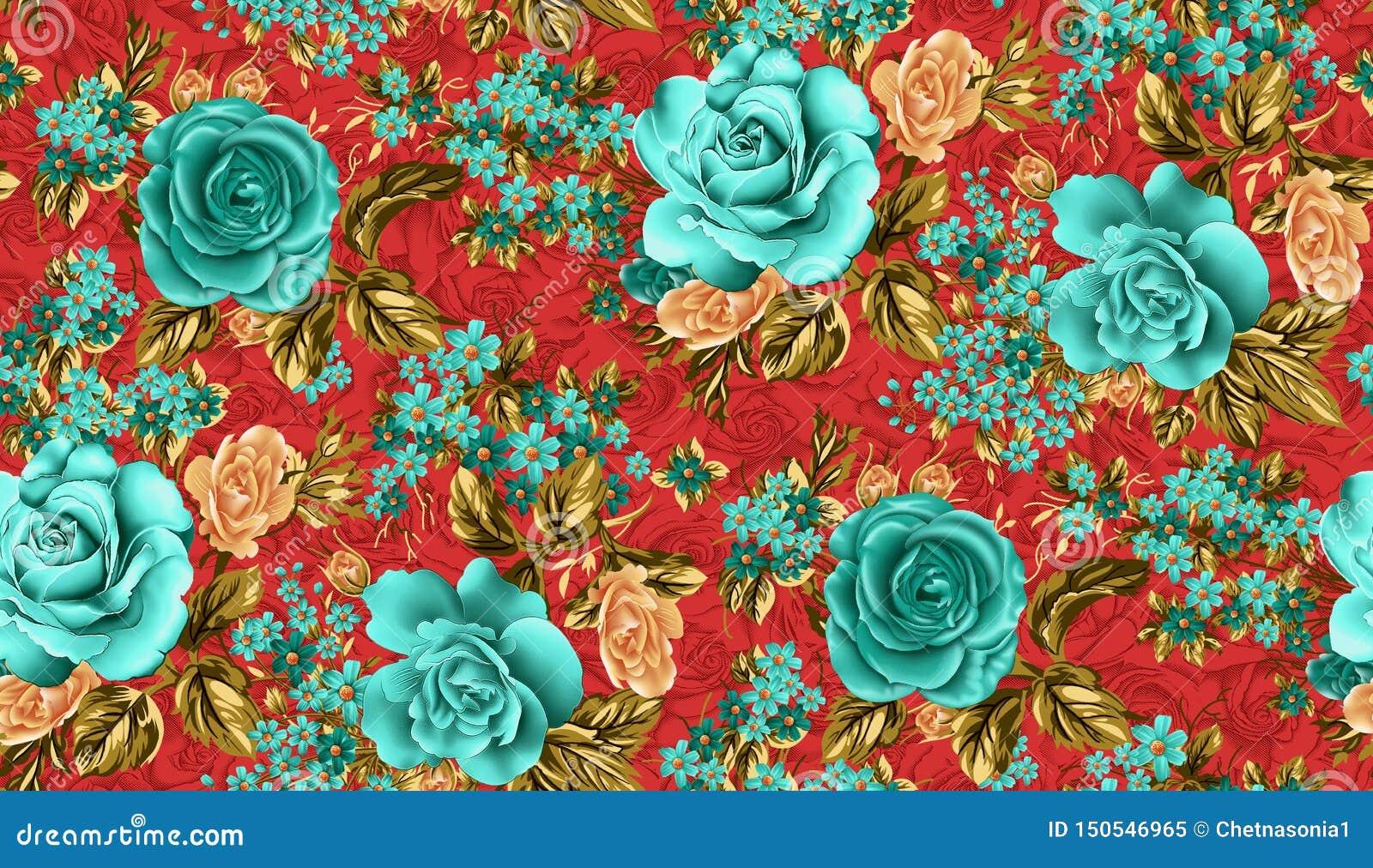 Seamless beautiful flower pattern red background