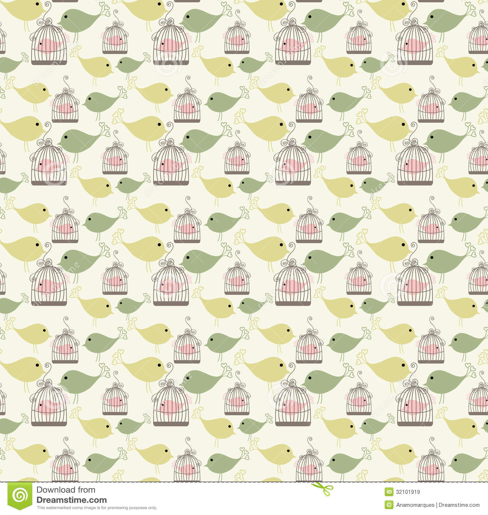 Seamless birds pattern...