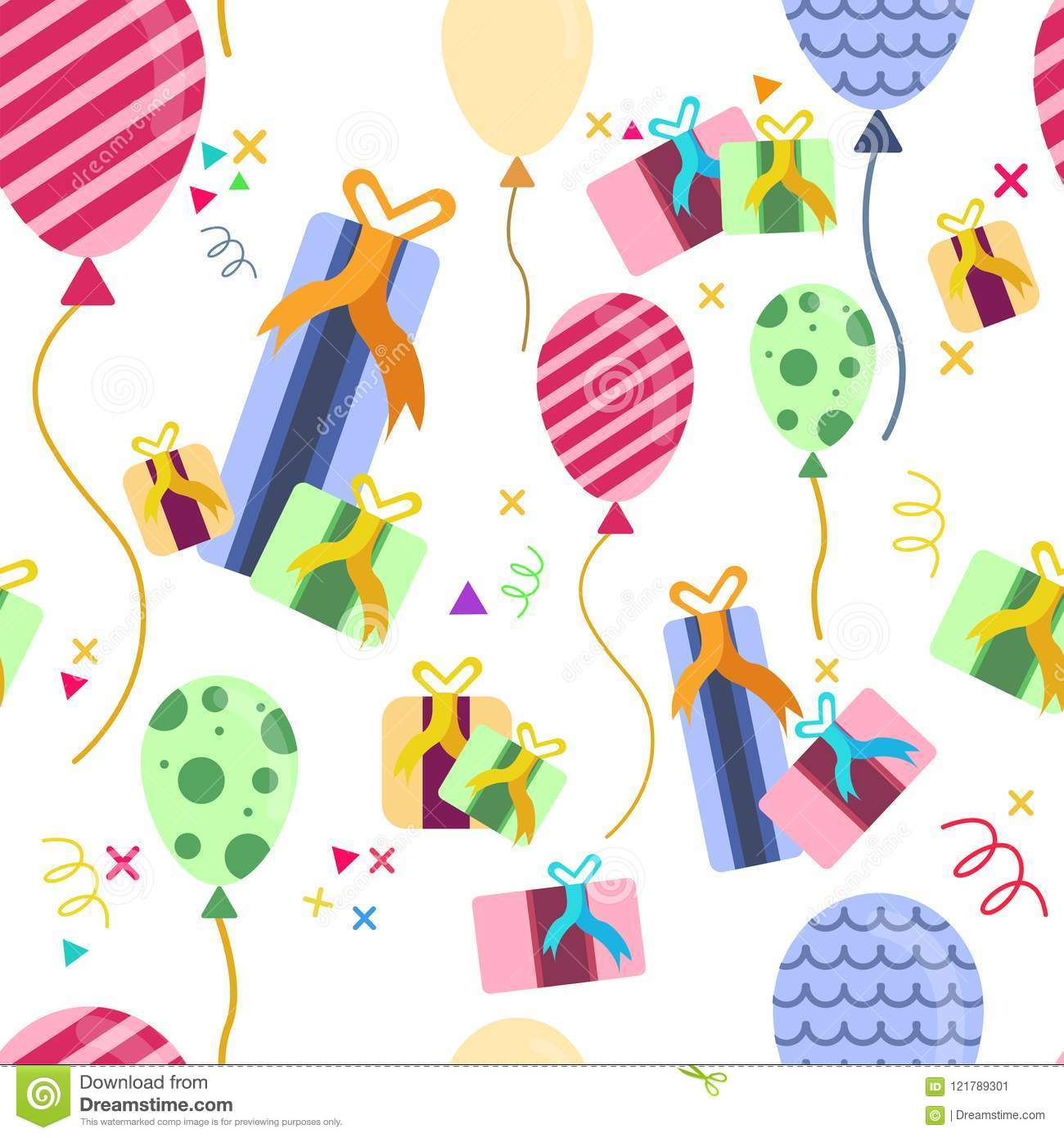 seamless birthday balloons and gift pattern