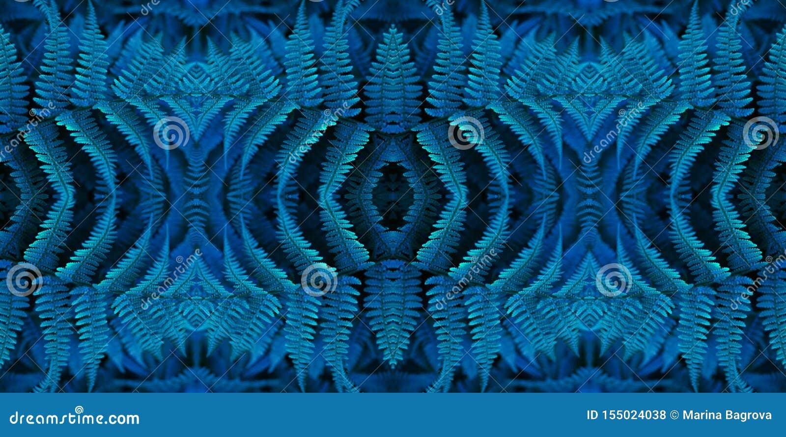 Seamless bl? blom- modell baner Härlig abstrakt fractalbakgrund och textur Blå neonormbunkemodell id?rik bild