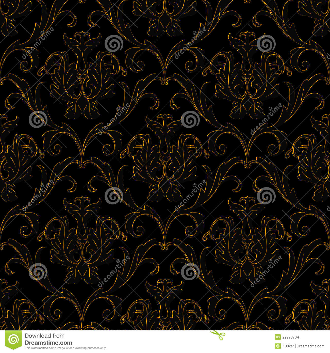 Seamless Black With Gold Stripe Floral Background Stock