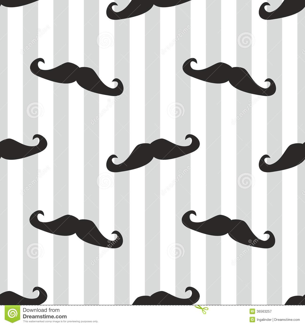 Seamless Black Vector Mustache And Blue Stripes Ba Royalty Free Stock ...