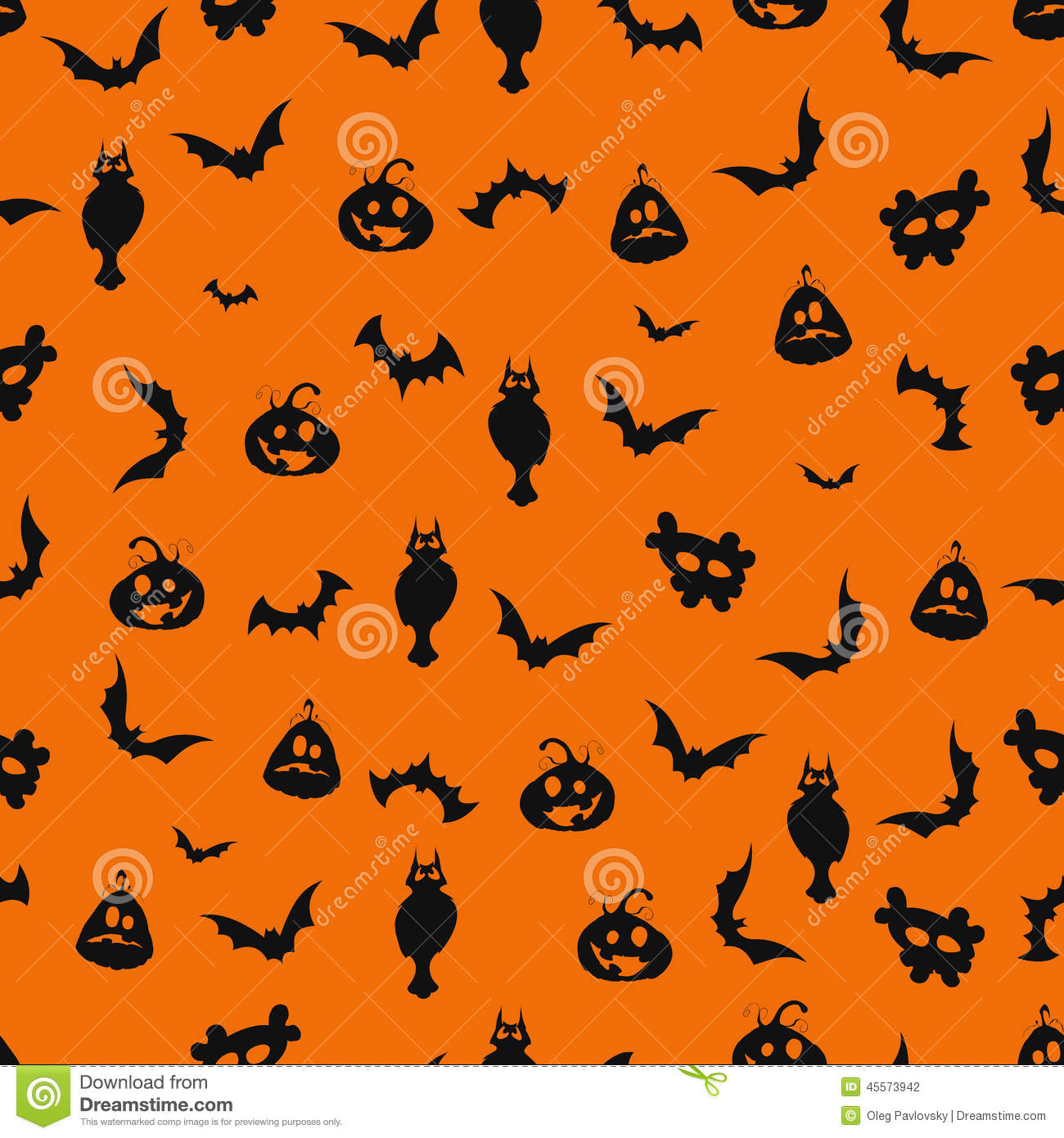 seamless black and orange halloween background stock