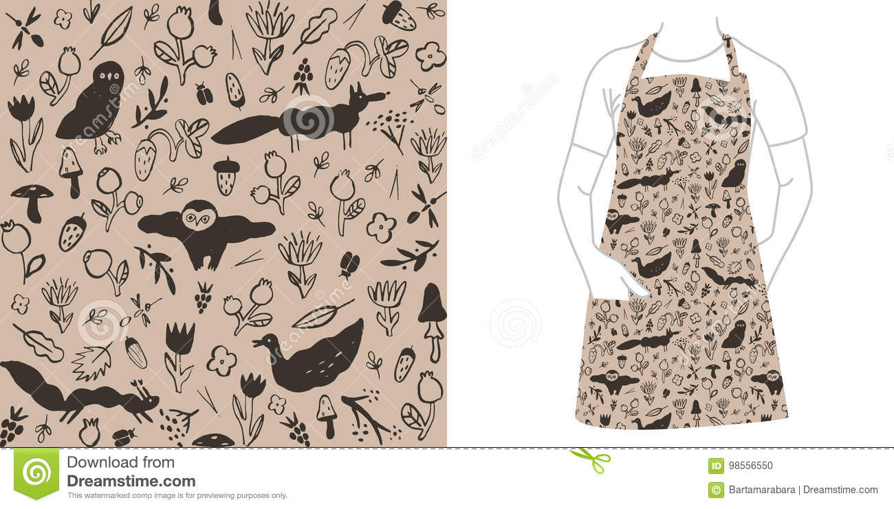 Seamless black pattern with wild animals, flowers, berries, mushrooms and insects.