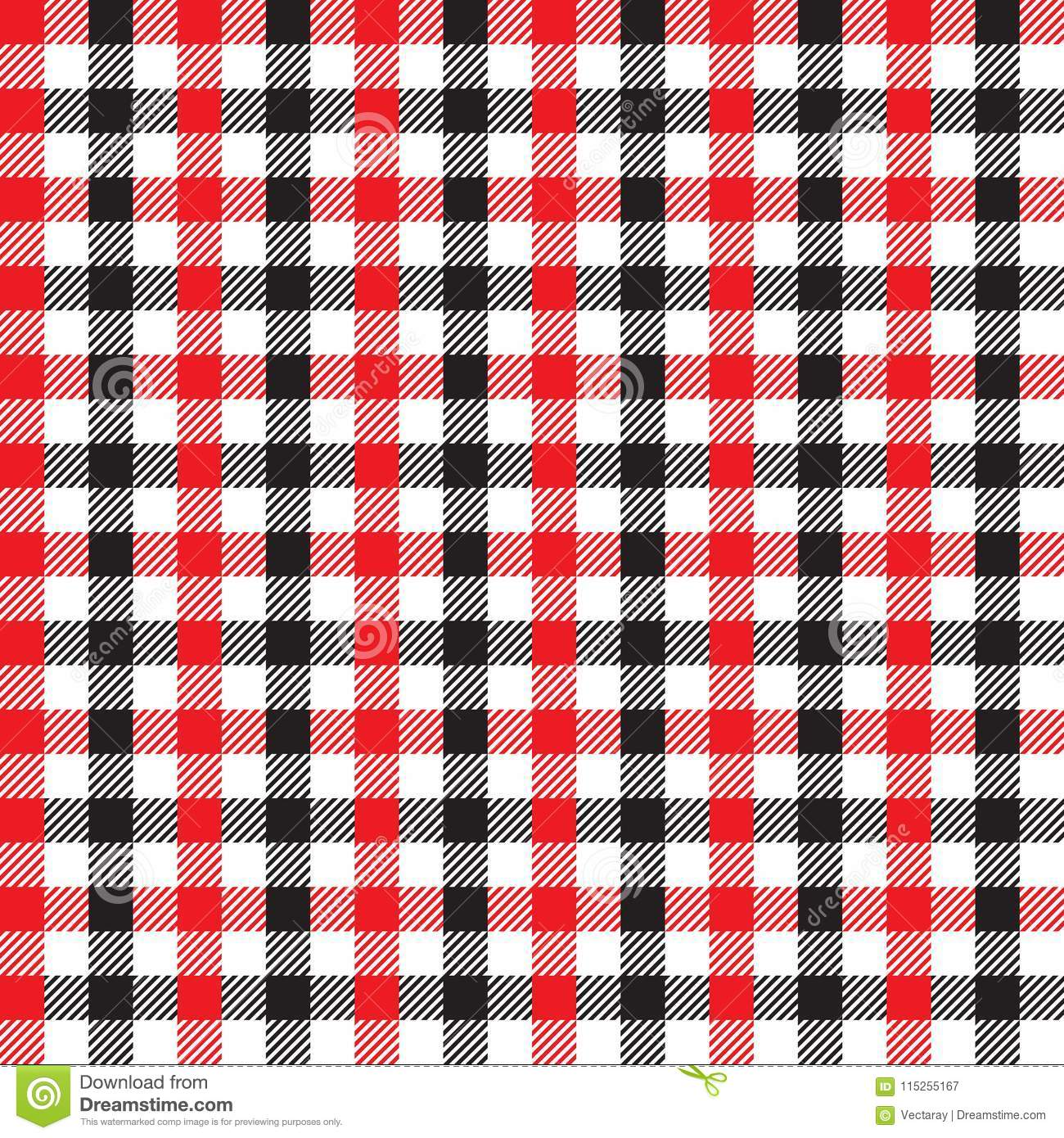 Seamless Black And Red Checkered Fabric Pattern Background Texture