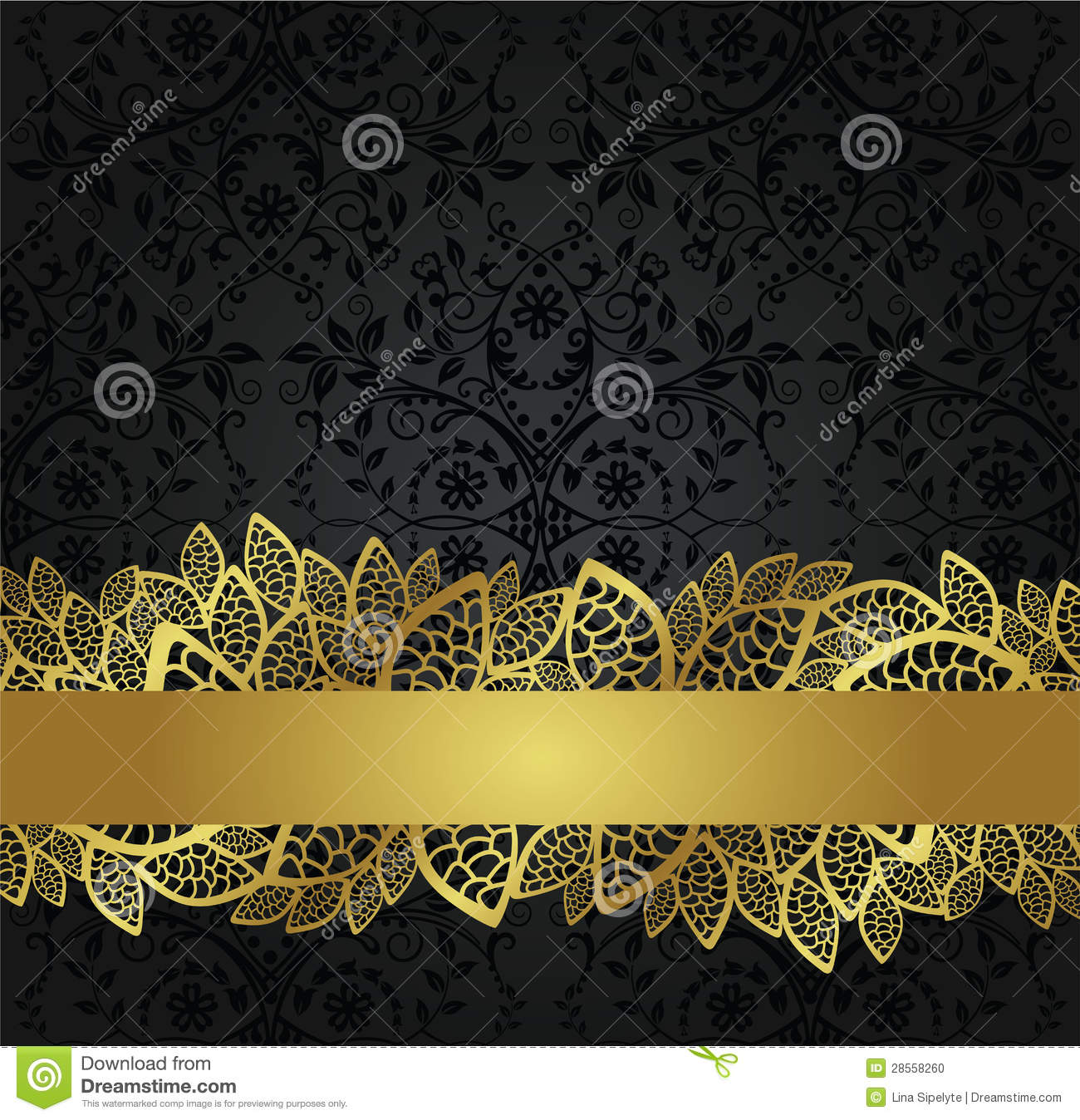 Seamless Black Wallpaper And Golden Lace Banner Stock