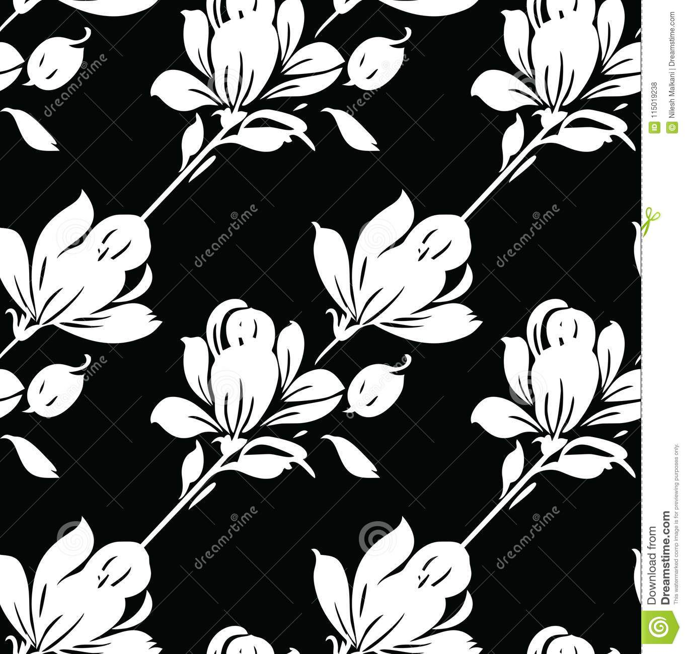 seamless black and white abstract rose flower pattern