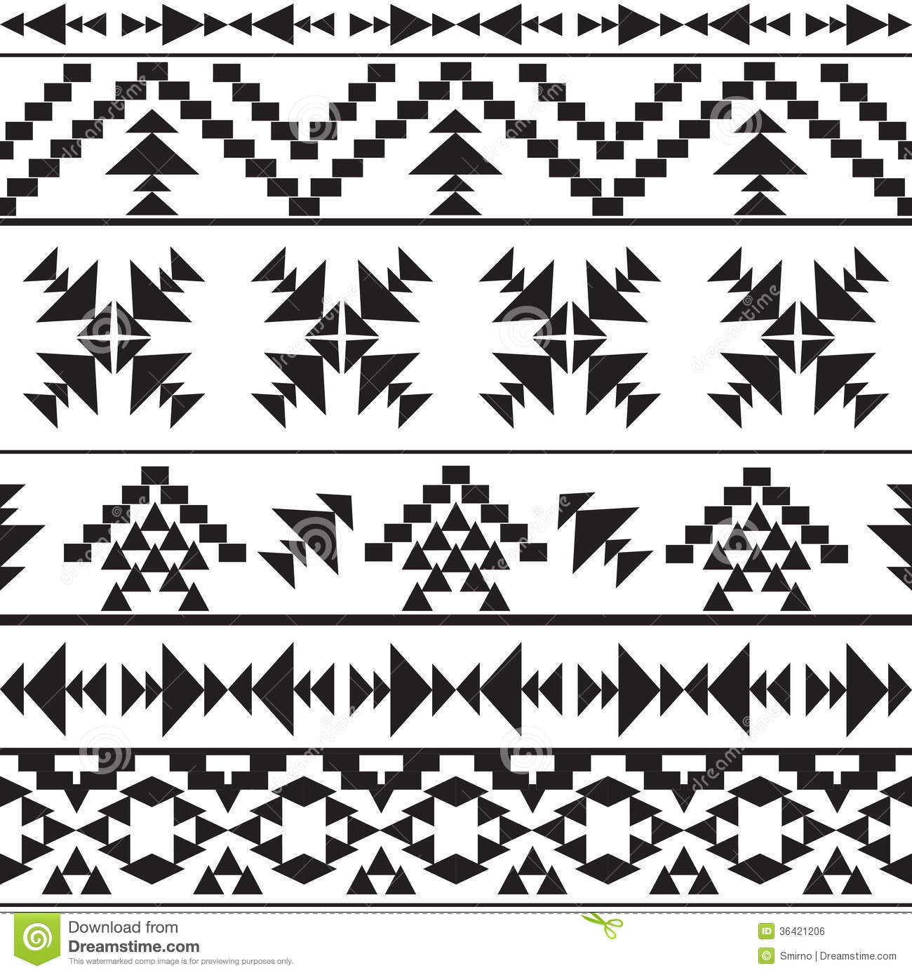 Seamless Black And White Aztec Pattern Stock Vector ...