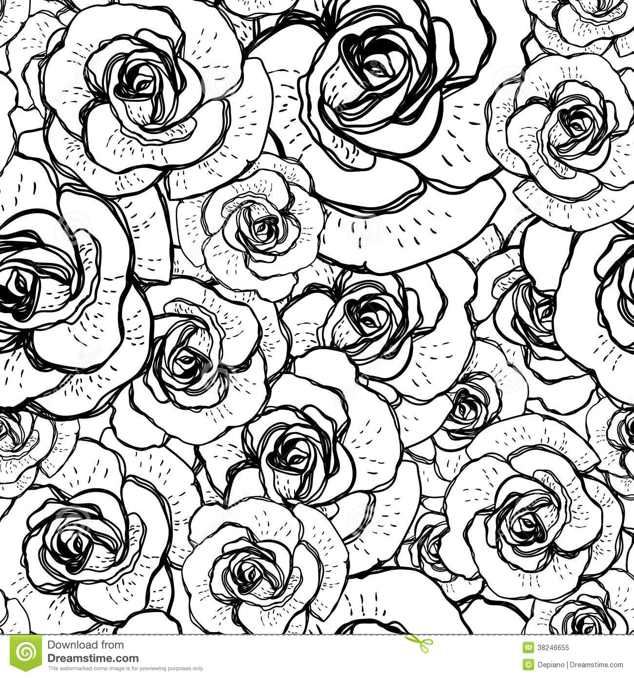 Black Flower On White Background Royalty Free Stock: Seamless Black And White Background With Roses Stock