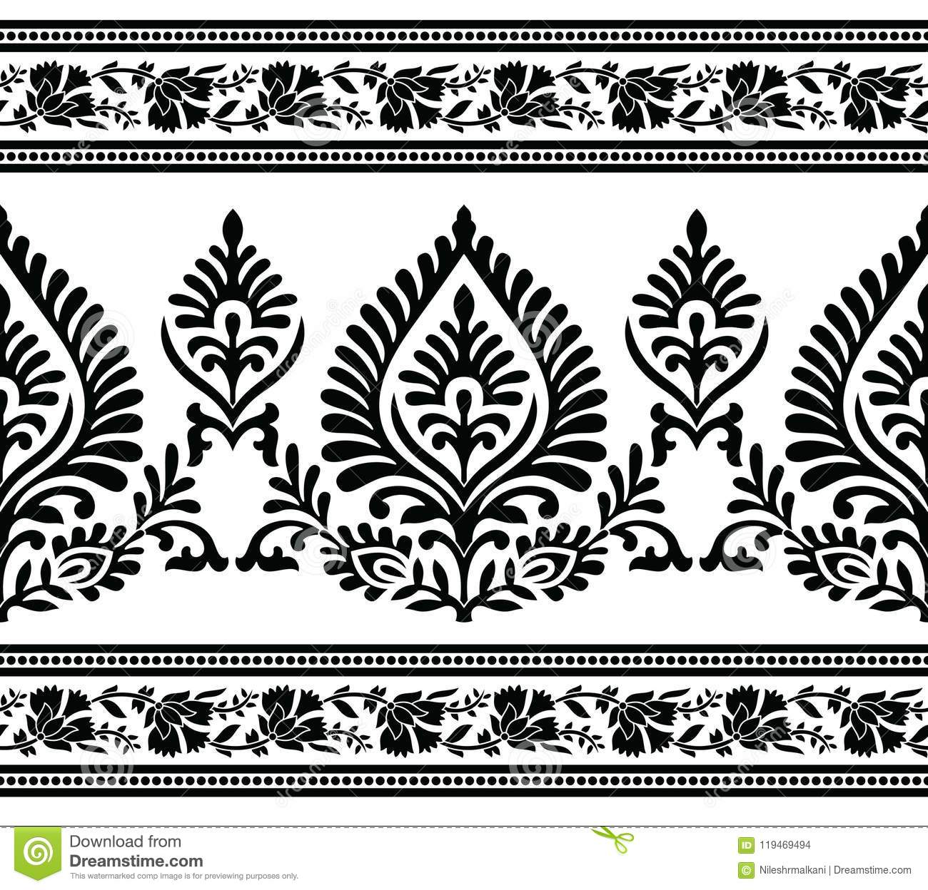 Seamless Black And White Border Stock Vector Illustration Of Cloth