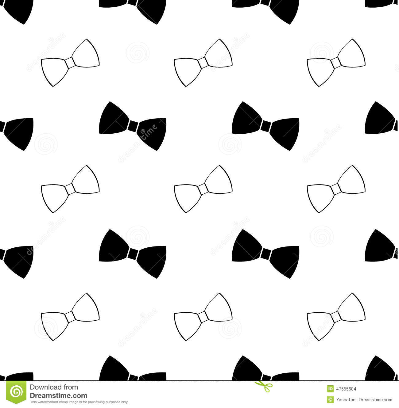 Seamless black and white bow tie pattern stock vector illustration download comp ccuart Image collections