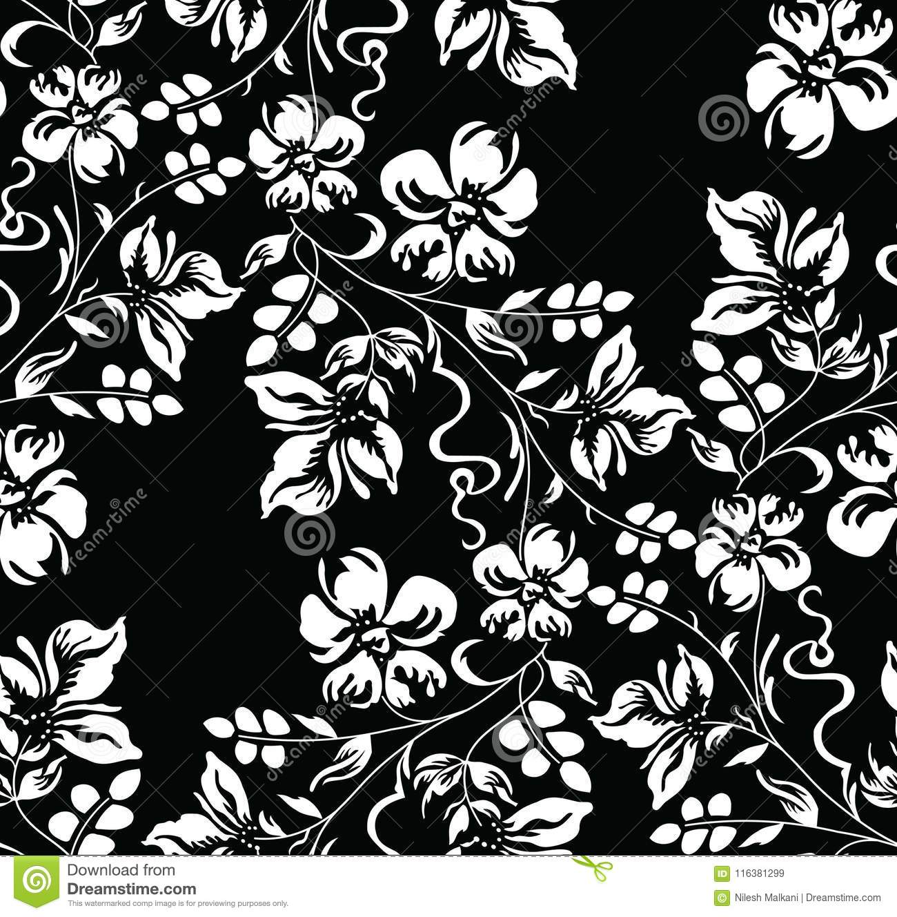 Seamless Black And White Damask Floral Wallpaper Stock Vector