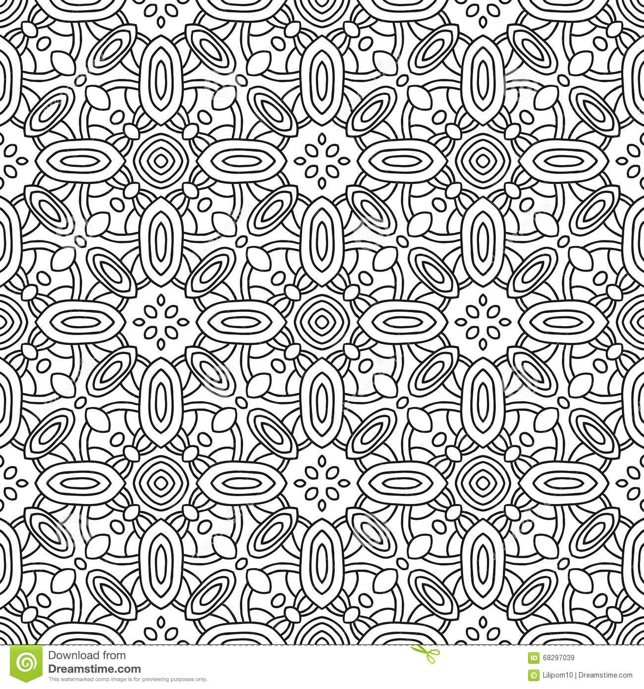 Seamless Black And White Decorative Pattern For Coloring Book Page ...