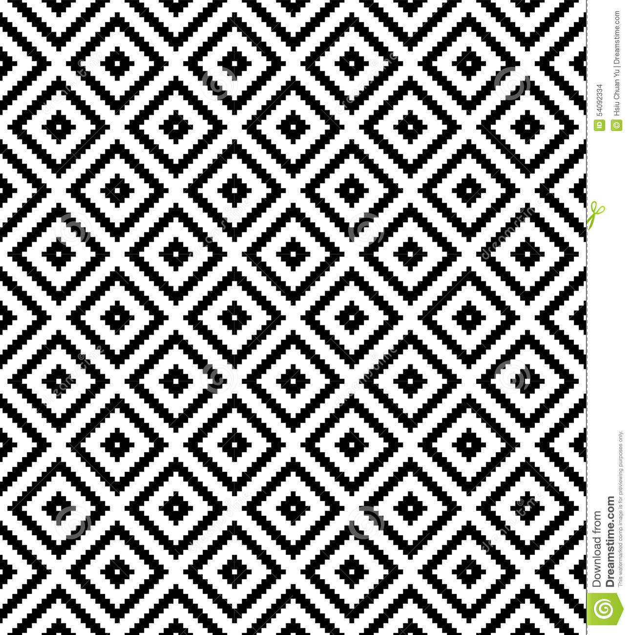 Seamless black and white checkered texture stock images image - Seamless Black And White Diamond Grid Check Pixel Repeat Pattern Stock Images