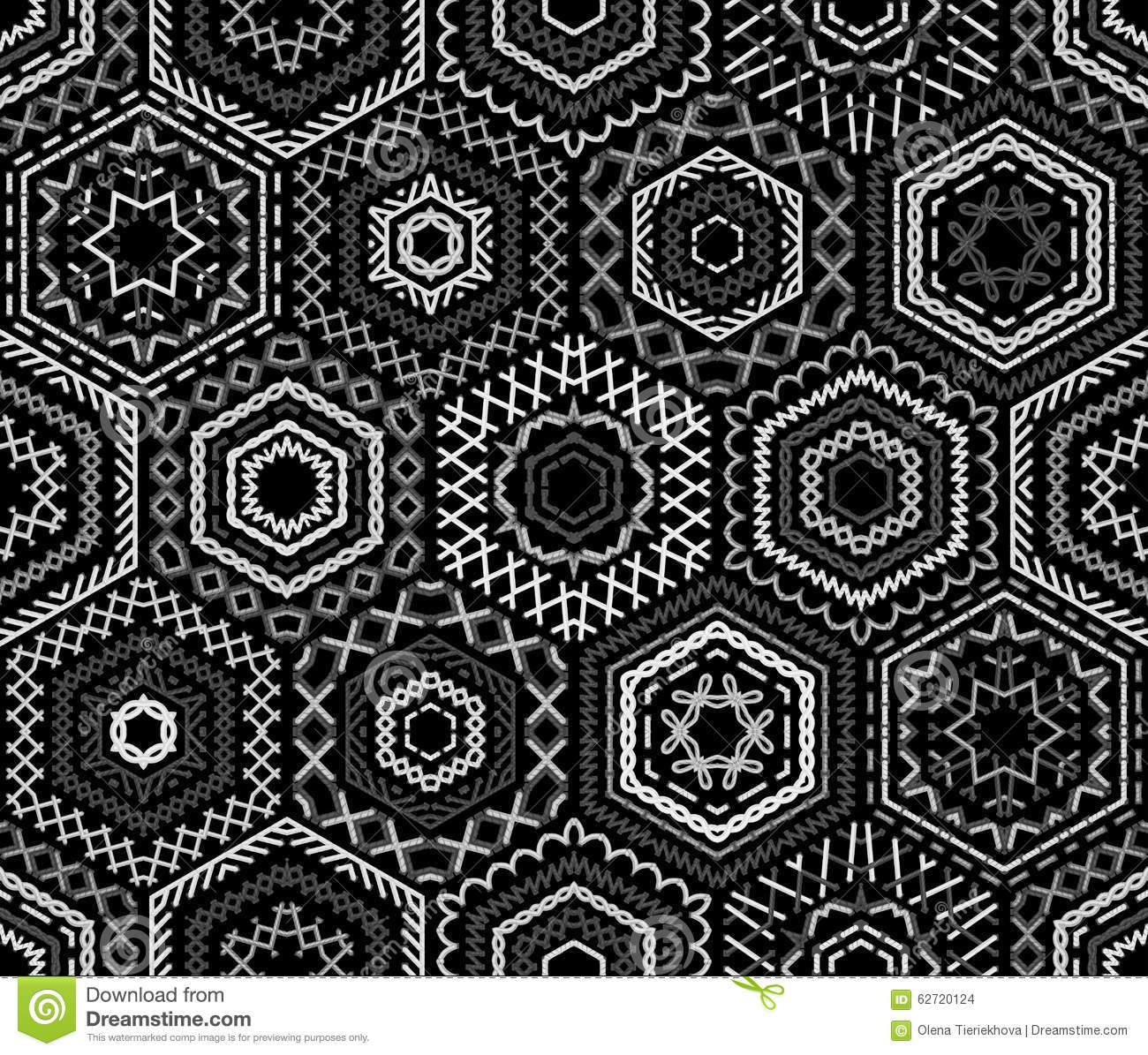 Seamless Black And White Embroidery Pattern. Stock Vector ...