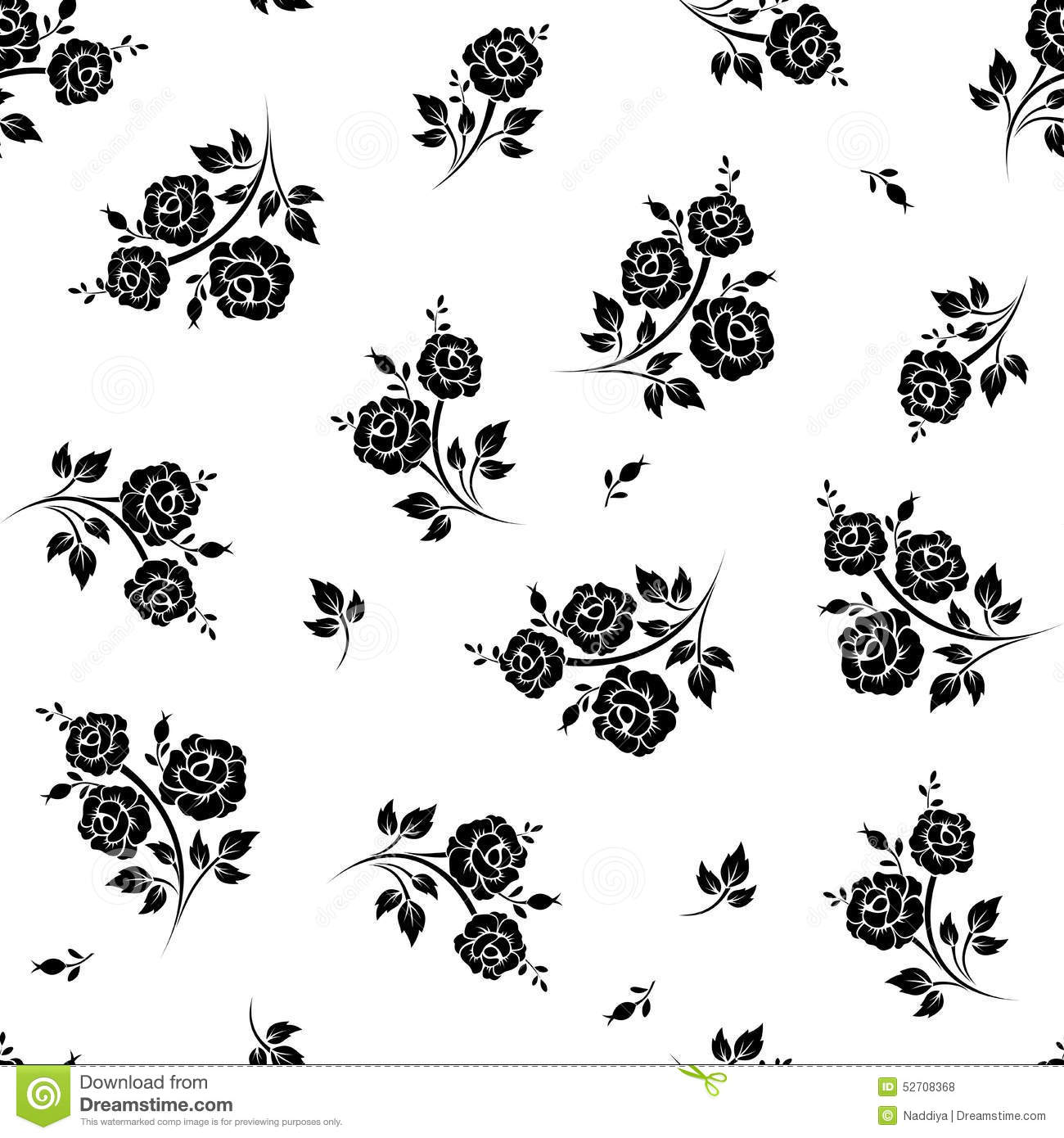 Seamless Black And White Floral Pattern Vector Illustration